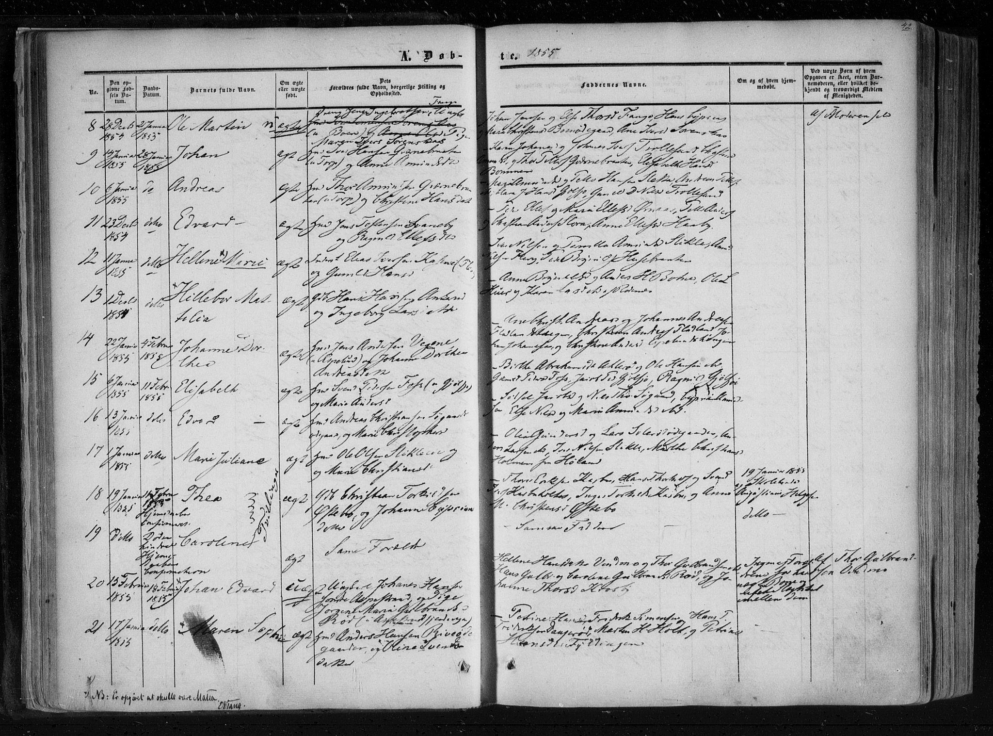 SAO, Aremark prestekontor Kirkebøker, F/Fc/L0003: Ministerialbok nr. III 3, 1850-1865, s. 42