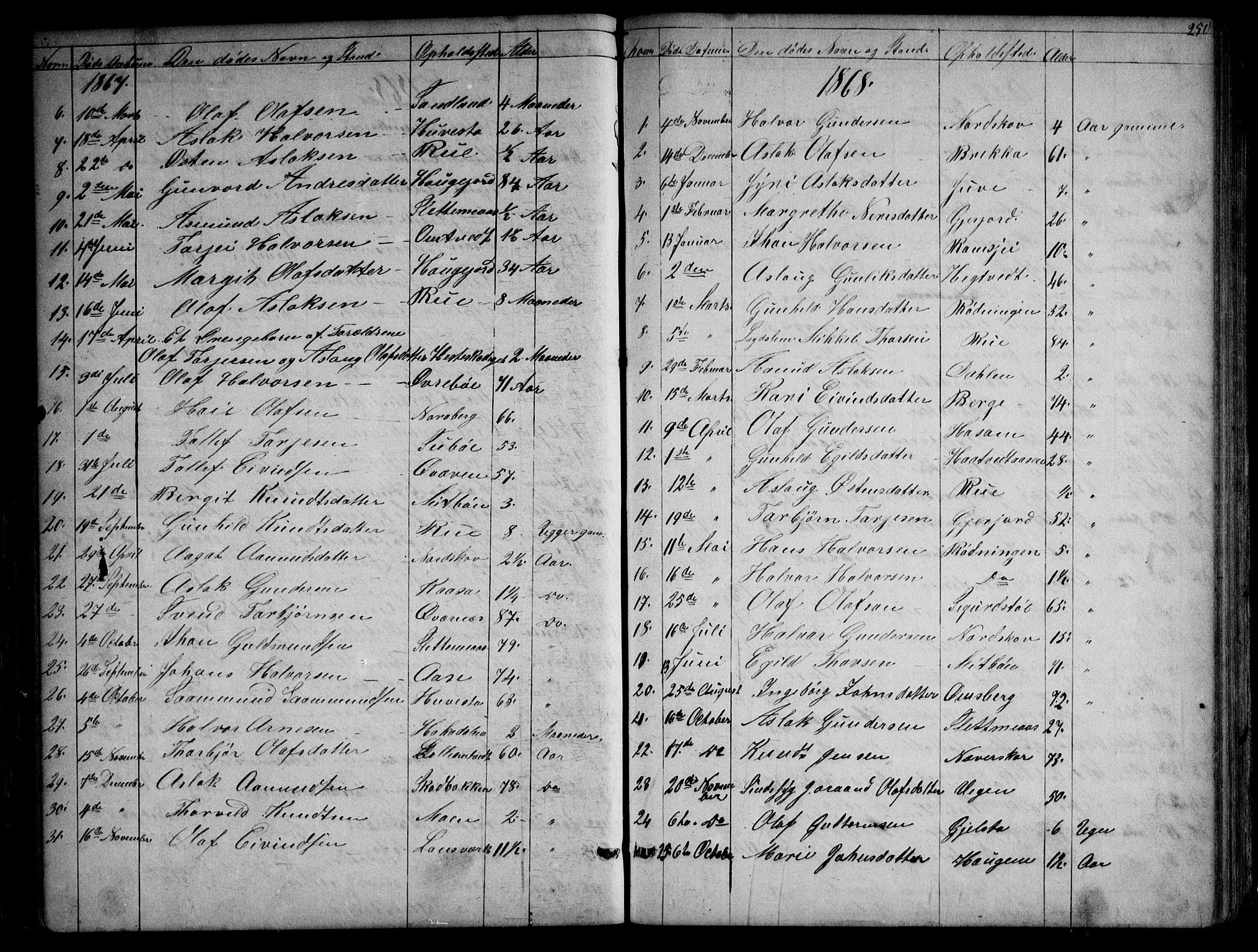 SAKO, Kviteseid kirkebøker, G/Gb/L0002: Klokkerbok nr. II 2, 1850-1892, s. 250