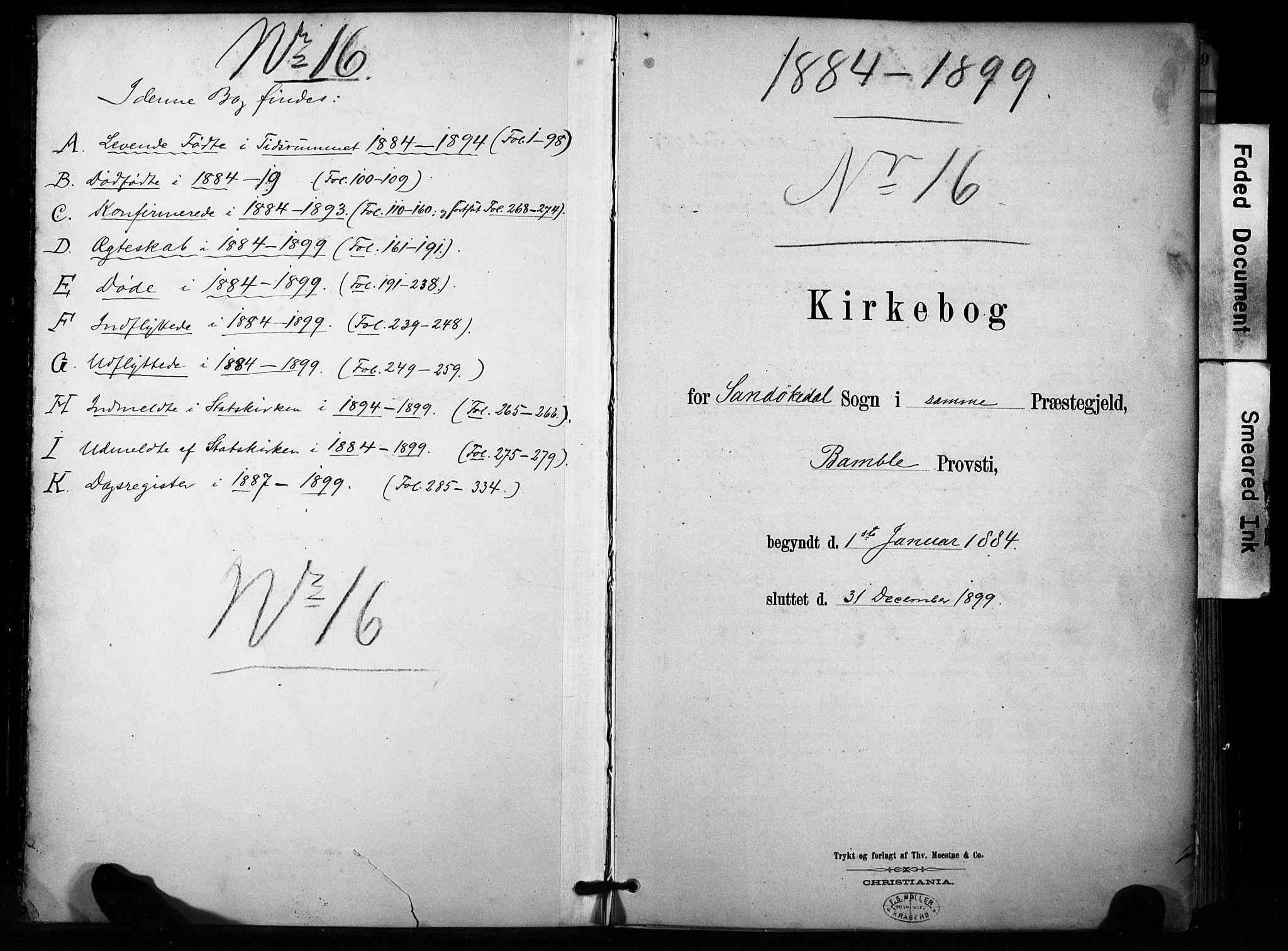 SAKO, Sannidal kirkebøker, F/Fa/L0015: Ministerialbok nr. 15, 1884-1899