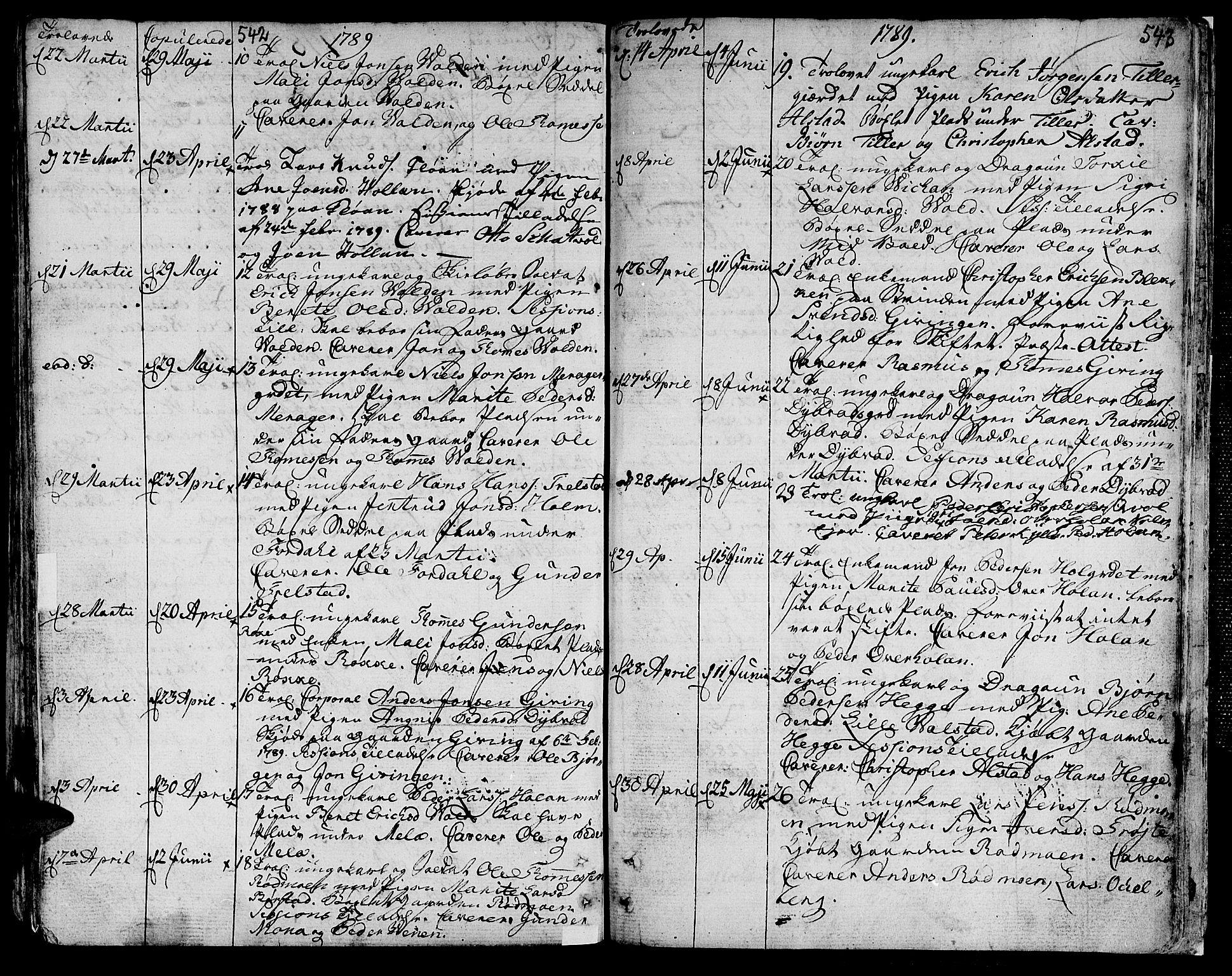 SAT, Ministerialprotokoller, klokkerbøker og fødselsregistre - Nord-Trøndelag, 709/L0059: Ministerialbok nr. 709A06, 1781-1797, s. 542-543