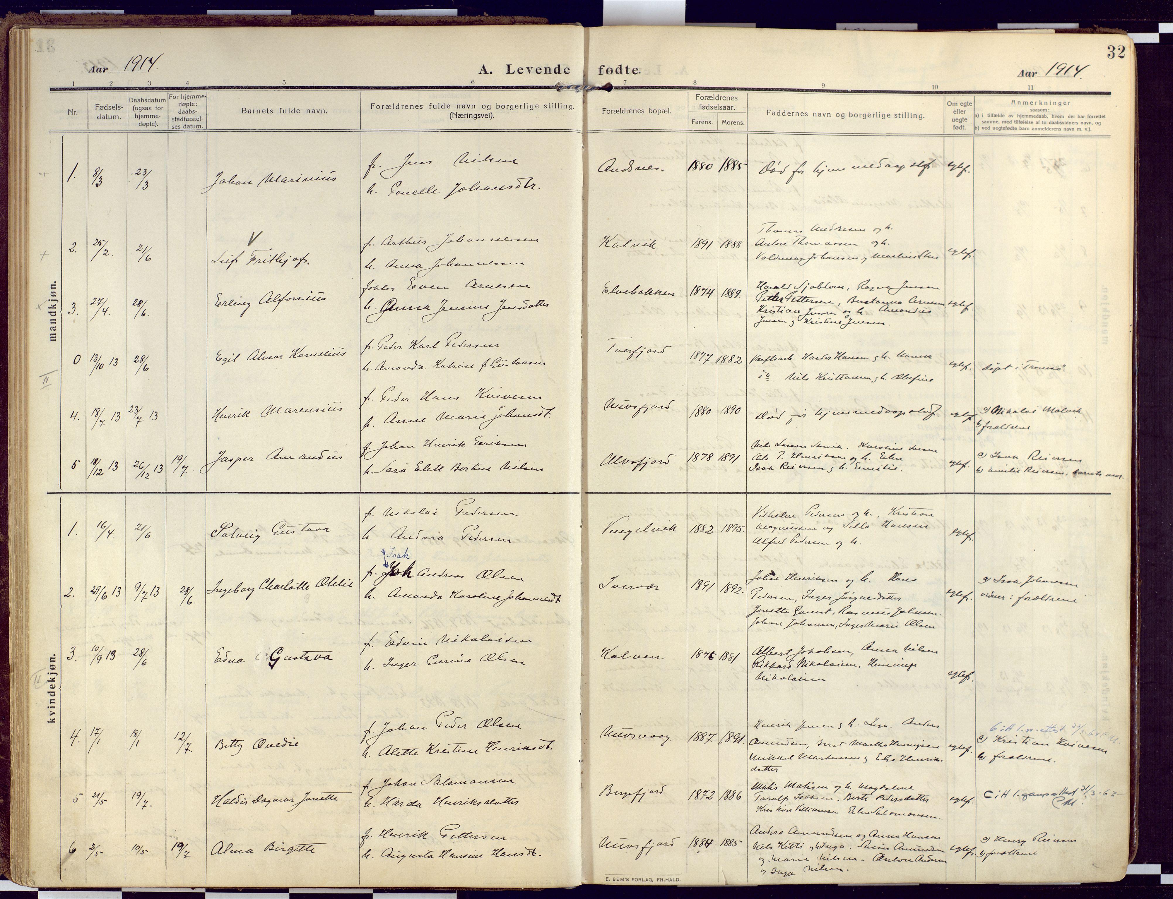 SATØ, Loppa sokneprestkontor, H/Ha/L0011kirke: Ministerialbok nr. 11, 1909-1919, s. 32