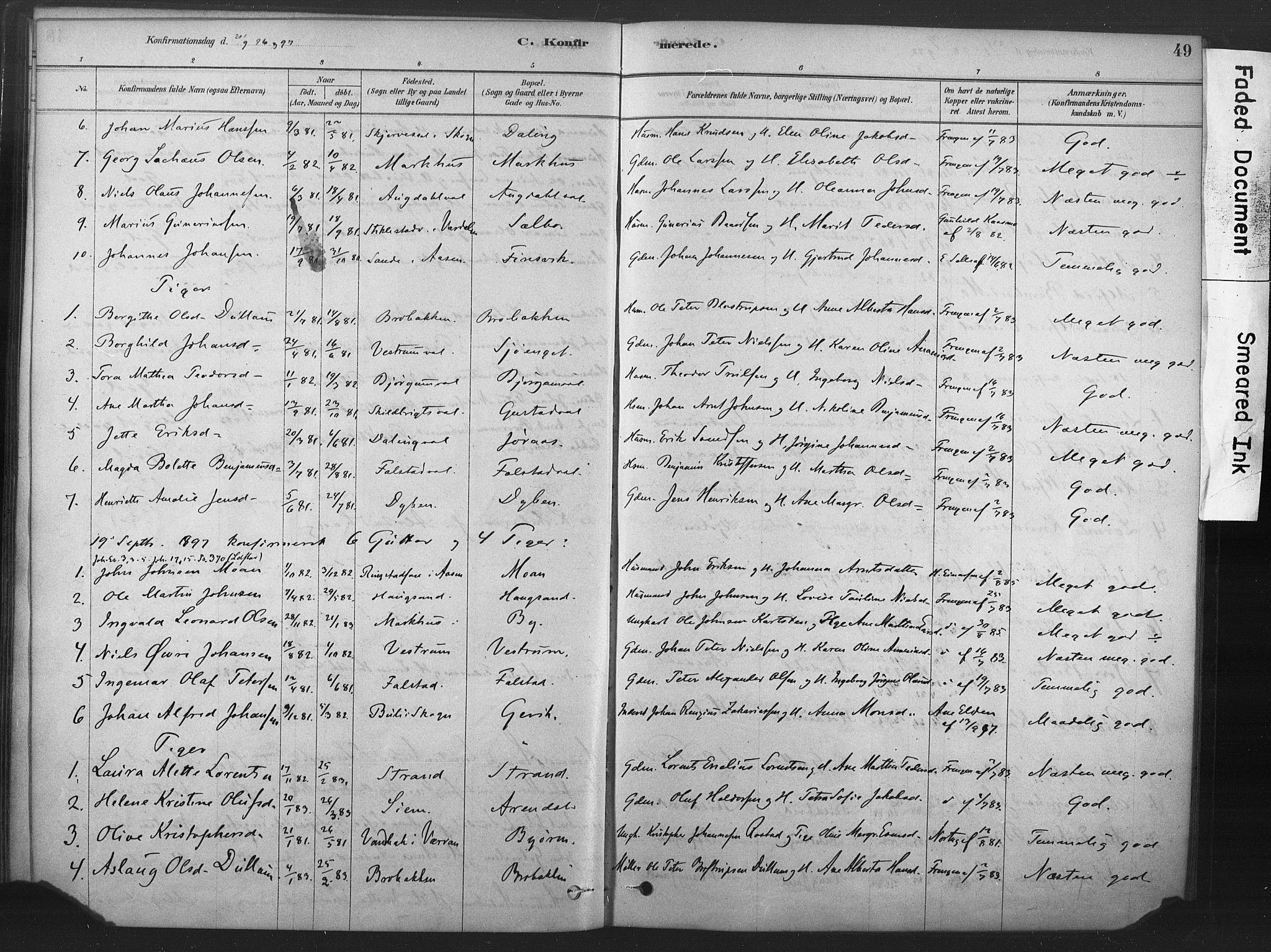 SAT, Ministerialprotokoller, klokkerbøker og fødselsregistre - Nord-Trøndelag, 719/L0178: Ministerialbok nr. 719A01, 1878-1900, s. 49