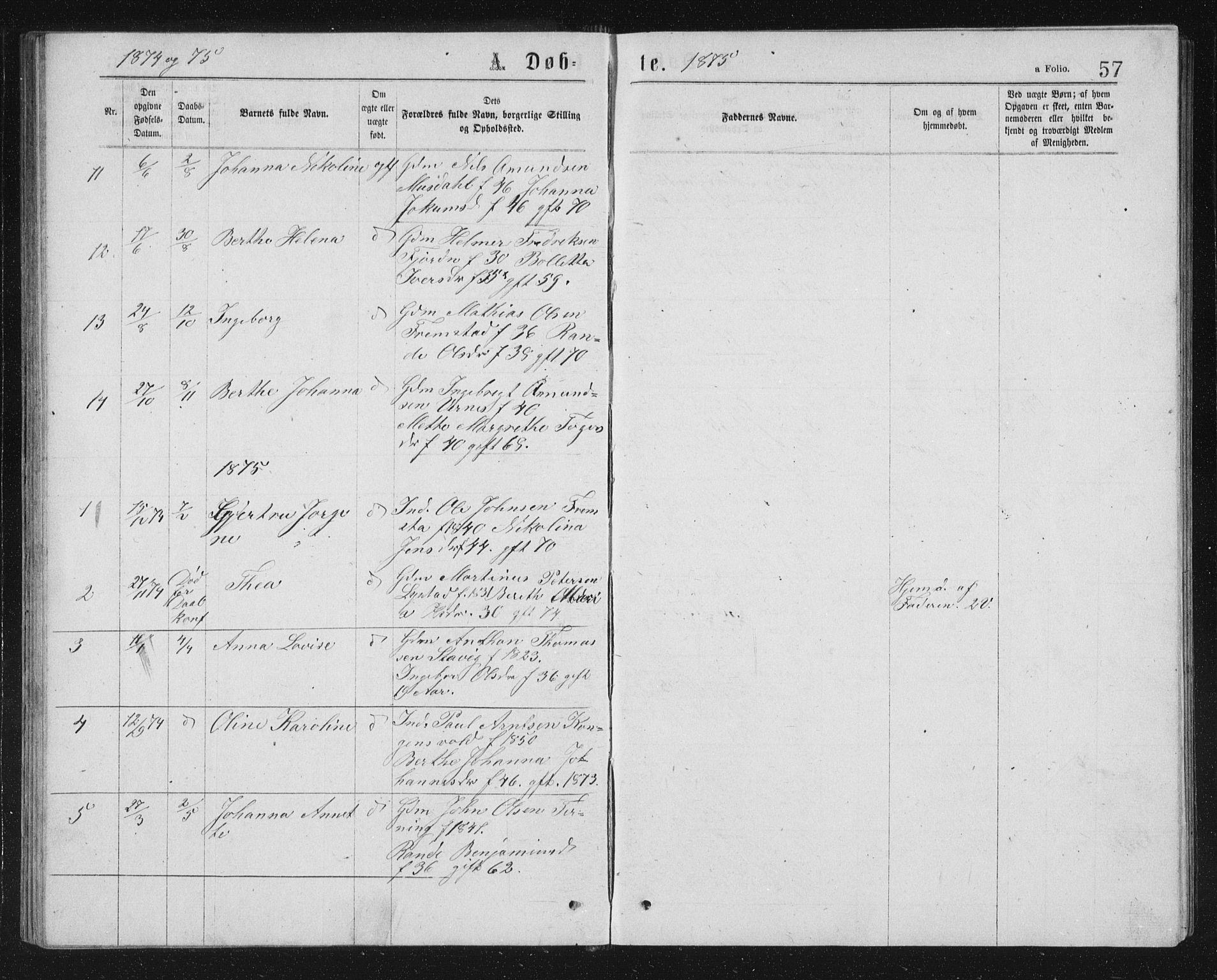 SAT, Ministerialprotokoller, klokkerbøker og fødselsregistre - Sør-Trøndelag, 662/L0756: Klokkerbok nr. 662C01, 1869-1891, s. 57