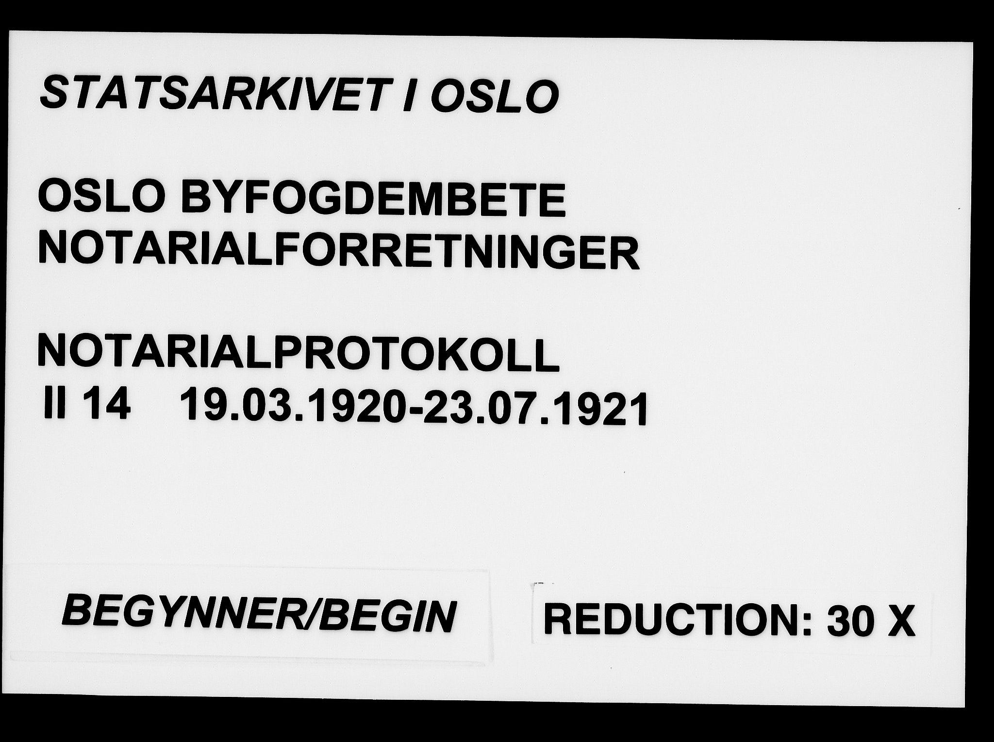 SAO, Oslo byfogd avd. I, L/Lb/Lbb/L0014: Notarialprotokoll, rekke II: Vigsler, 1920-1921, s. upaginert