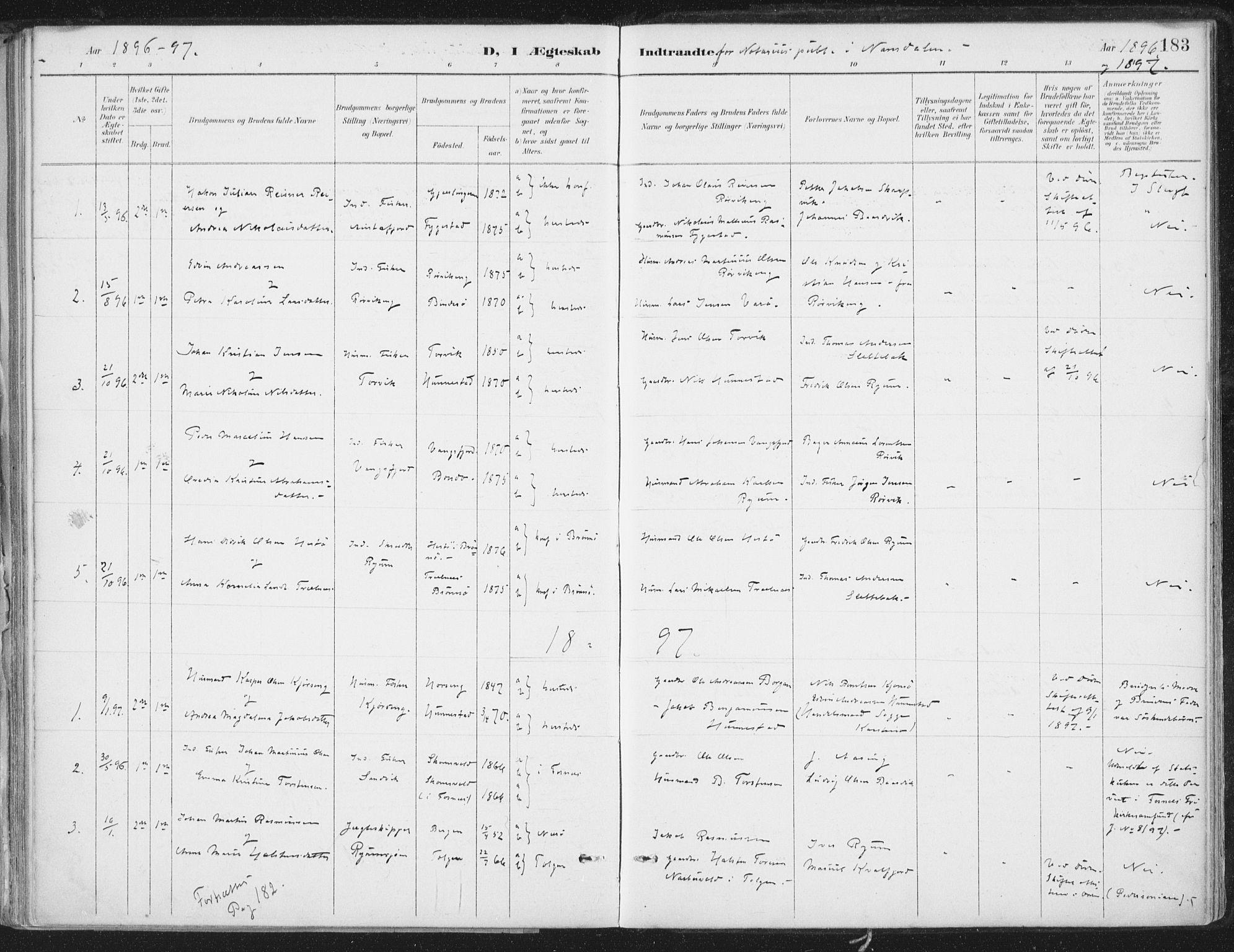 SAT, Ministerialprotokoller, klokkerbøker og fødselsregistre - Nord-Trøndelag, 786/L0687: Ministerialbok nr. 786A03, 1888-1898, s. 183