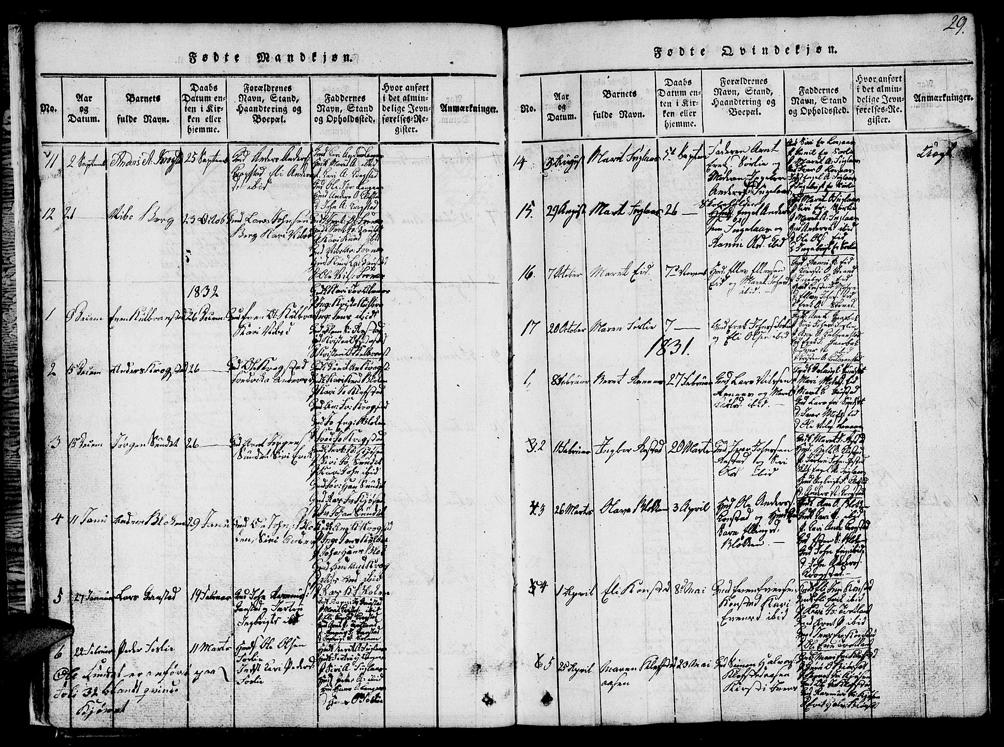 SAT, Ministerialprotokoller, klokkerbøker og fødselsregistre - Sør-Trøndelag, 694/L1130: Klokkerbok nr. 694C02, 1816-1857, s. 29