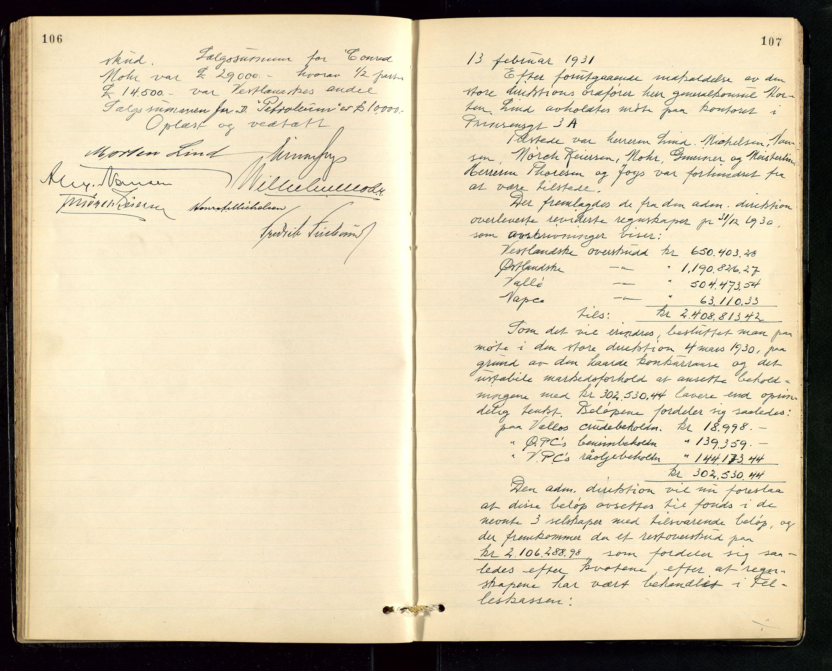 SAST, PA 1534 - Østlandske Petroleumscompagni A/S, A/Aa/L0006: Direksjonsprotokoller, 1922-1952, s. 106-107