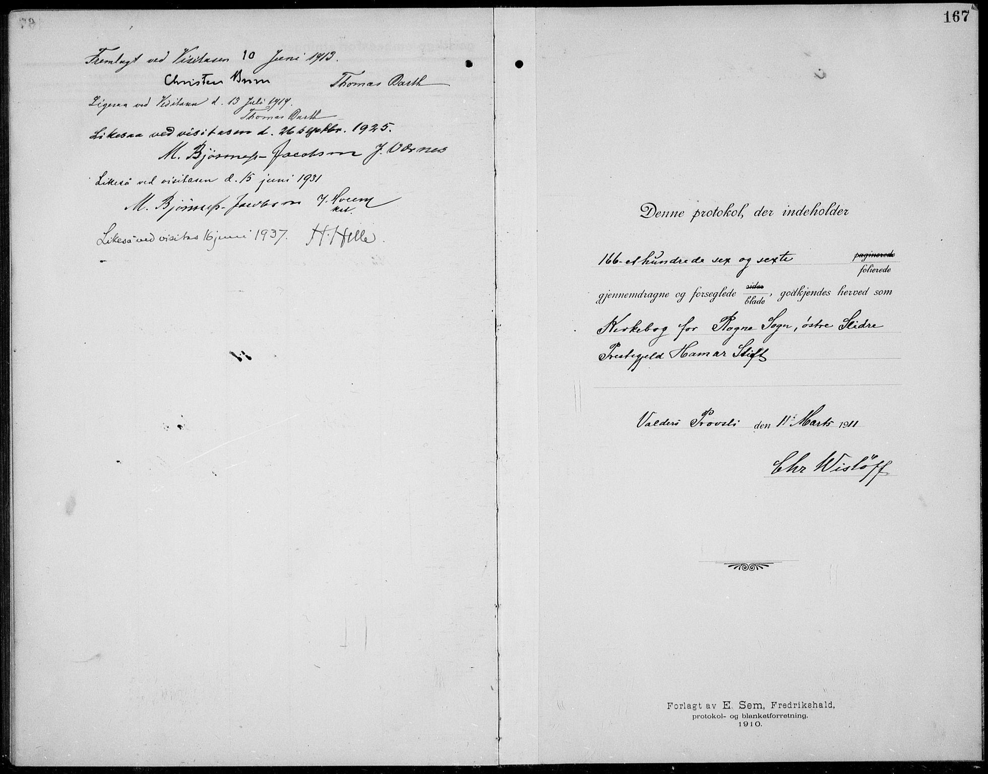 SAH, Øystre Slidre prestekontor, Klokkerbok nr. 8, 1911-1938, s. 167