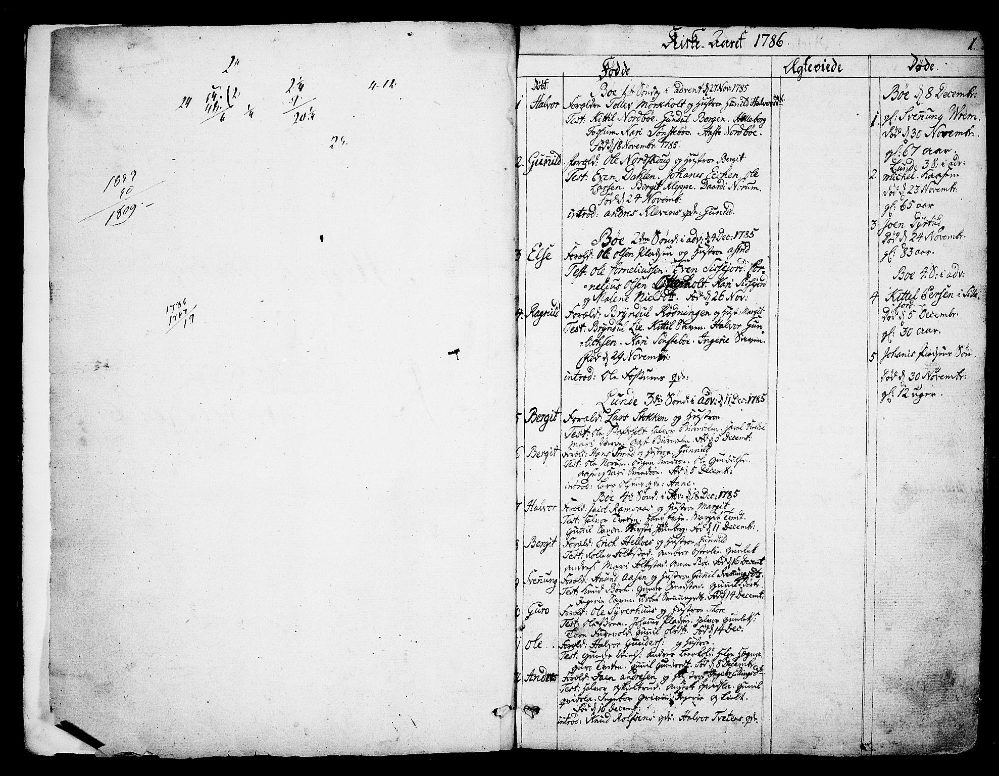 SAKO, Bø kirkebøker, F/Fa/L0005: Ministerialbok nr. 5, 1785-1815, s. 0-1