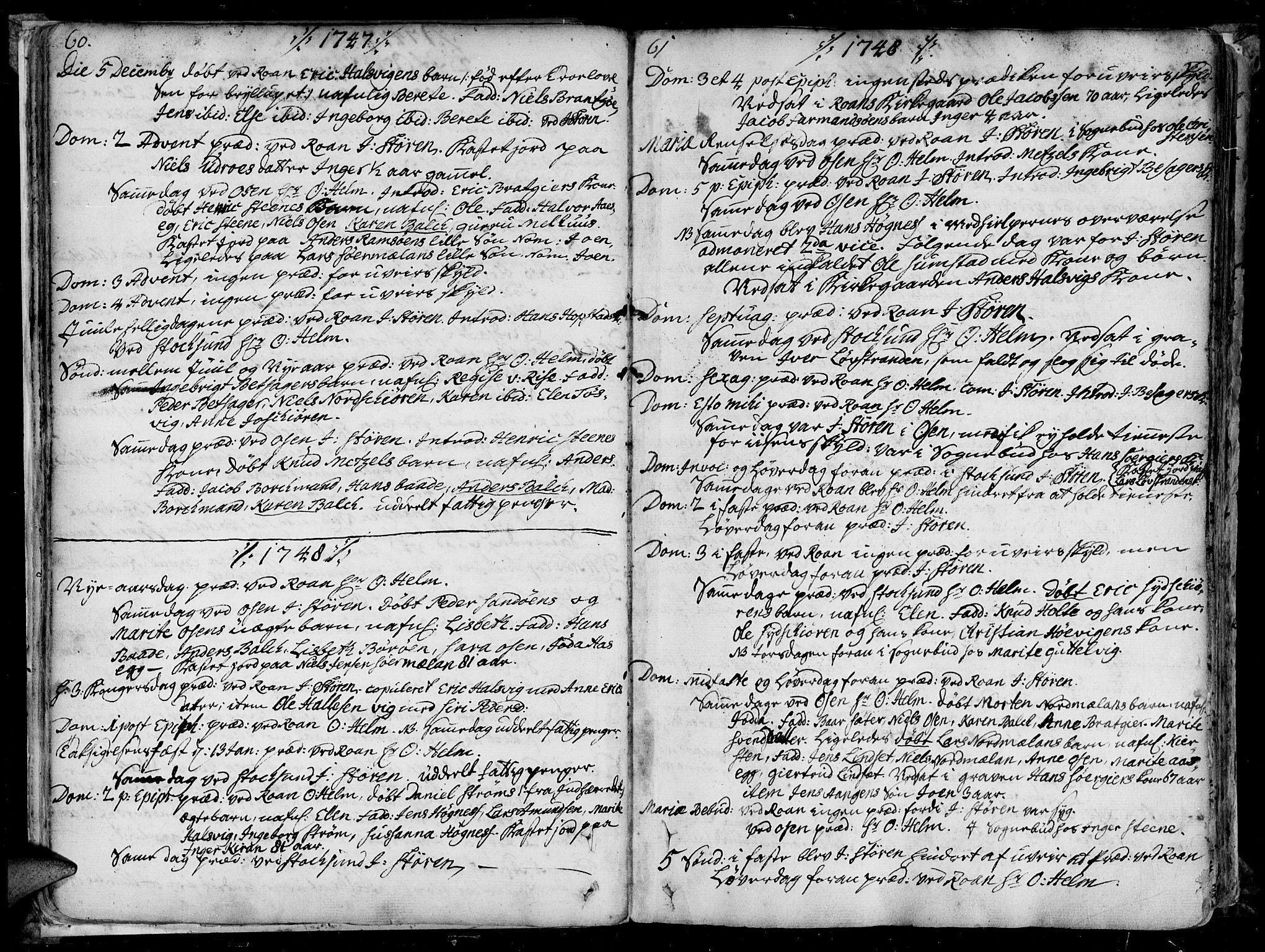 SAT, Ministerialprotokoller, klokkerbøker og fødselsregistre - Sør-Trøndelag, 657/L0700: Ministerialbok nr. 657A01, 1732-1801, s. 60-61