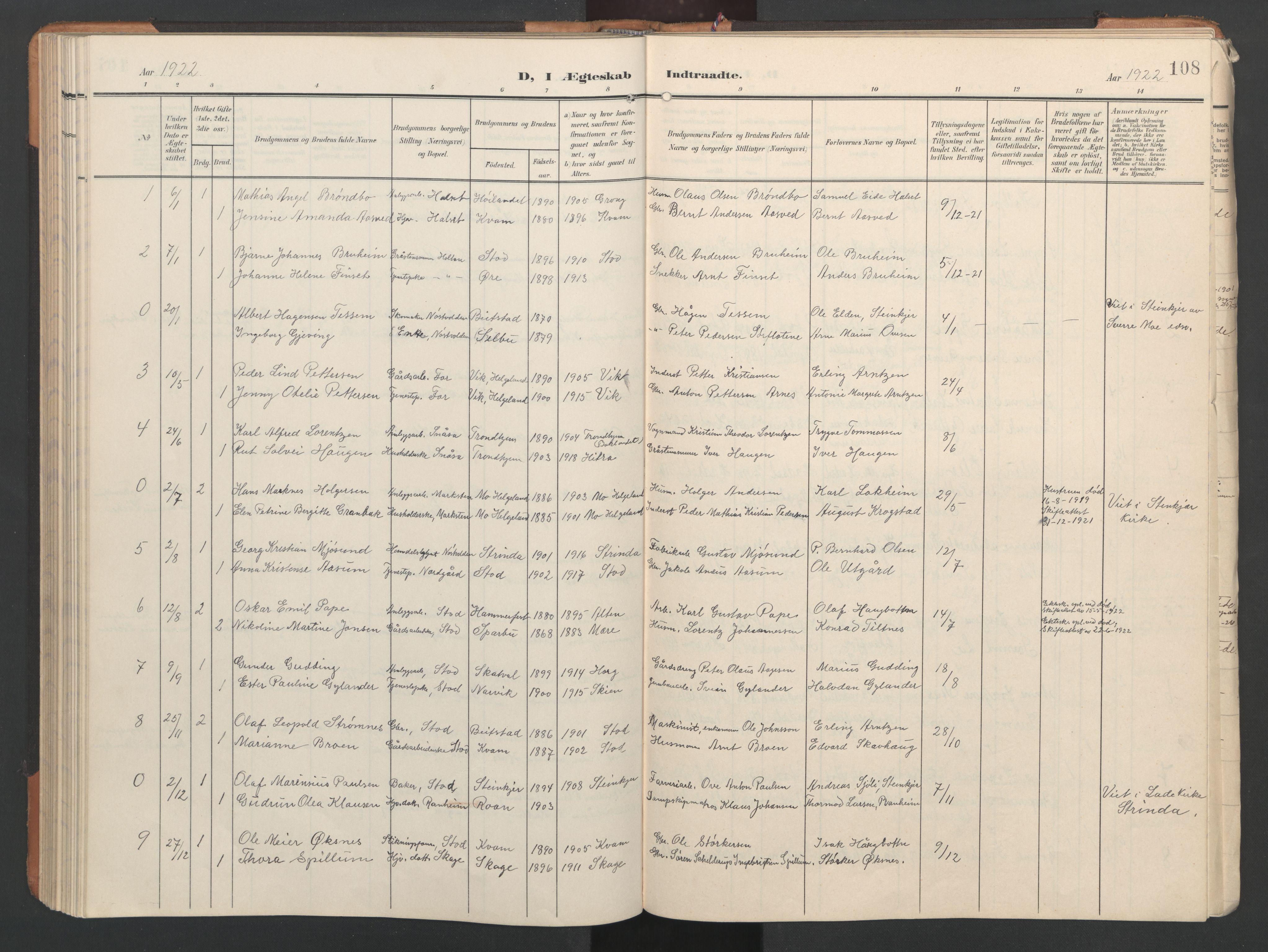 SAT, Ministerialprotokoller, klokkerbøker og fødselsregistre - Nord-Trøndelag, 746/L0455: Klokkerbok nr. 746C01, 1908-1933, s. 108