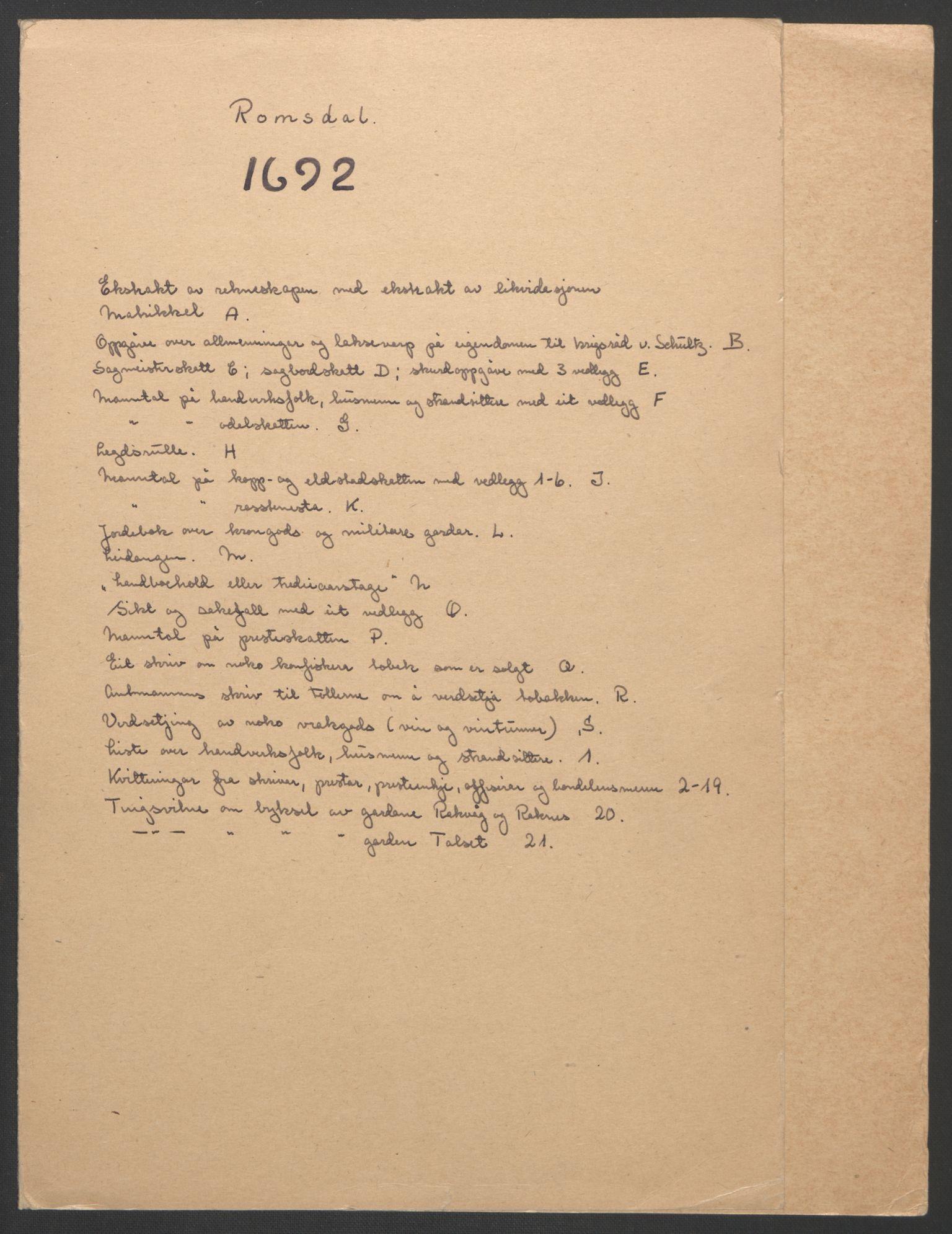 RA, Rentekammeret inntil 1814, Reviderte regnskaper, Fogderegnskap, R55/L3650: Fogderegnskap Romsdal, 1692, s. 2