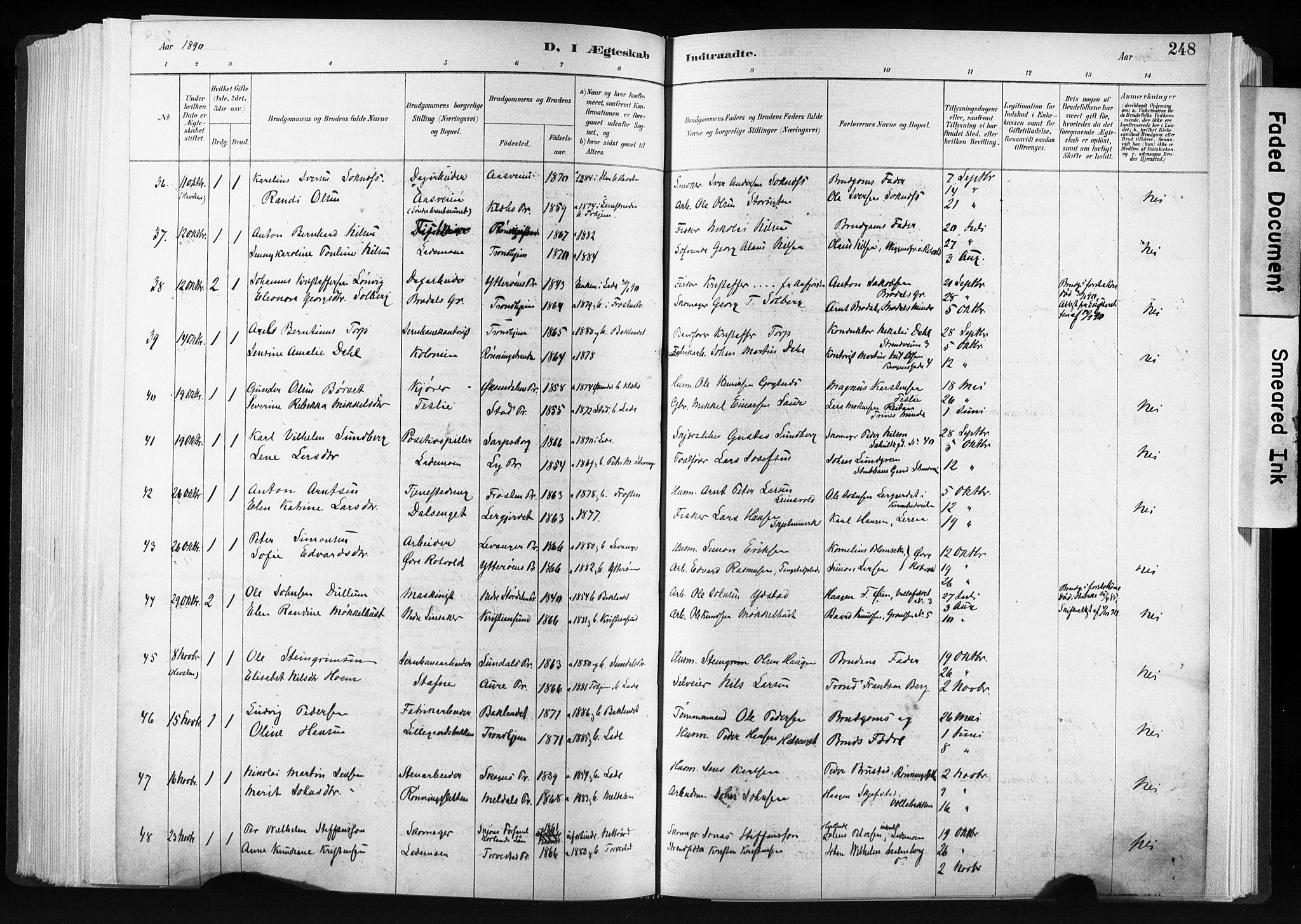 SAT, Ministerialprotokoller, klokkerbøker og fødselsregistre - Sør-Trøndelag, 606/L0300: Ministerialbok nr. 606A15, 1886-1893, s. 248