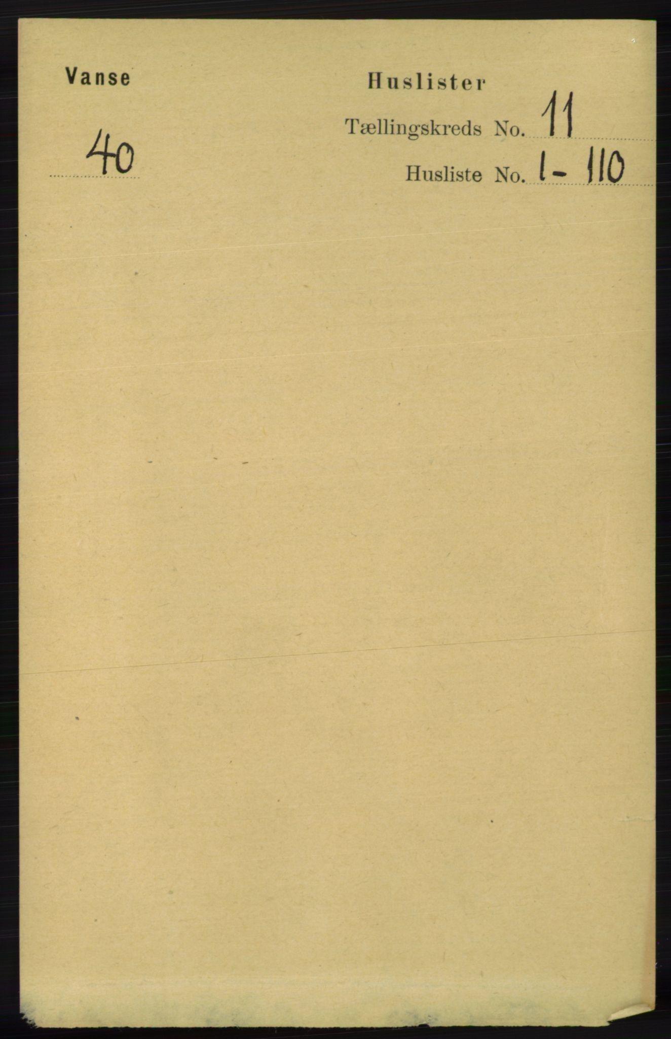 RA, Folketelling 1891 for 1041 Vanse herred, 1891, s. 6078