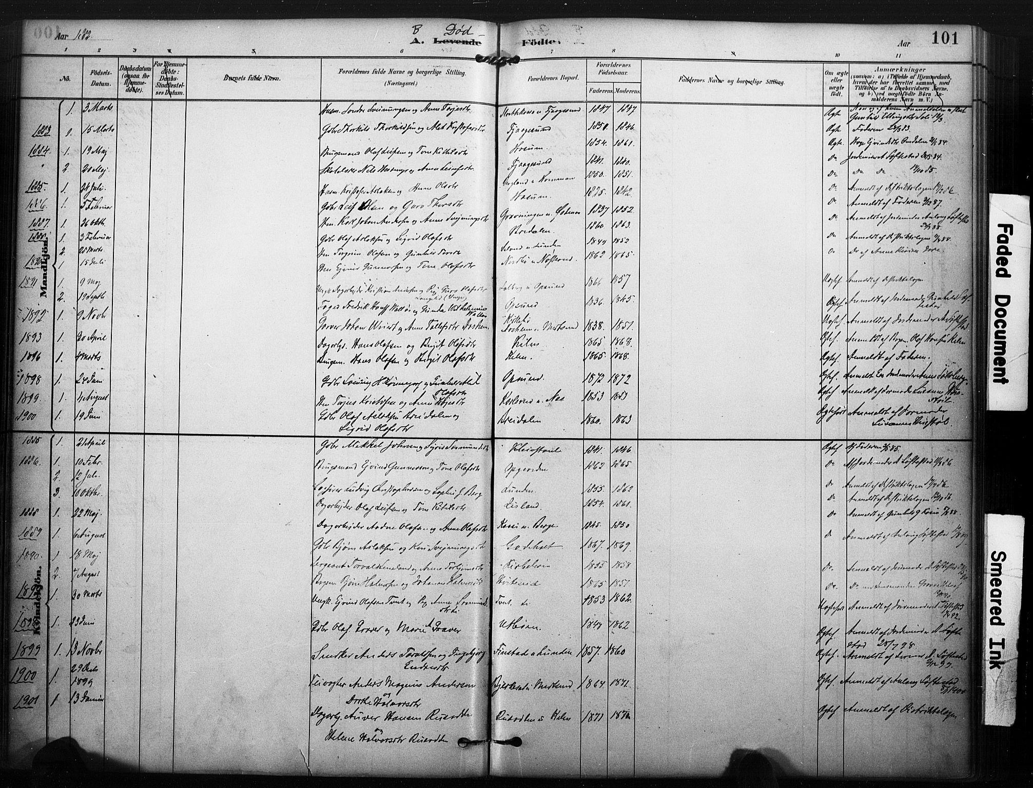 SAKO, Kviteseid kirkebøker, F/Fa/L0008: Ministerialbok nr. I 8, 1882-1903, s. 101