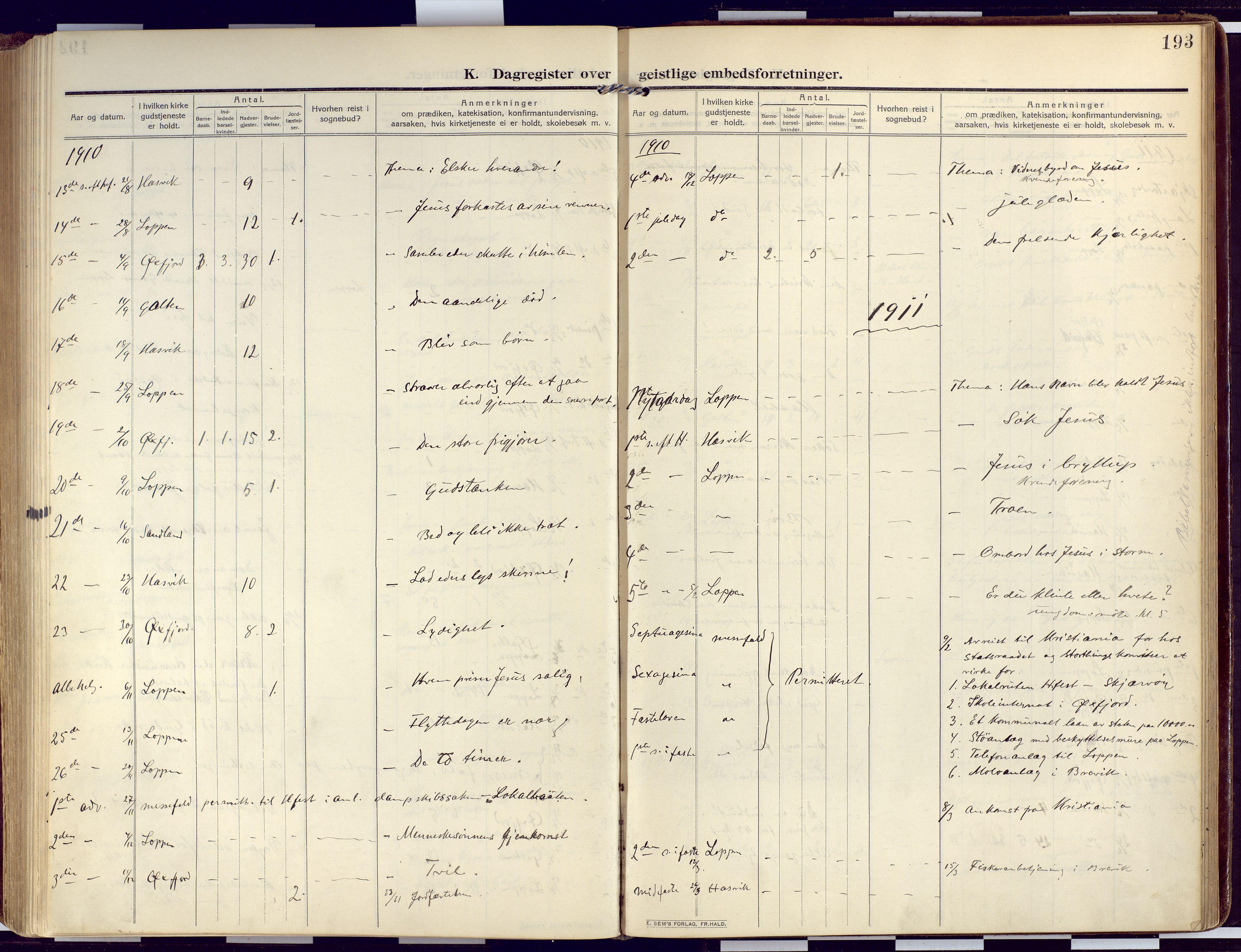 SATØ, Loppa sokneprestkontor, H/Ha/L0011kirke: Ministerialbok nr. 11, 1909-1919, s. 193