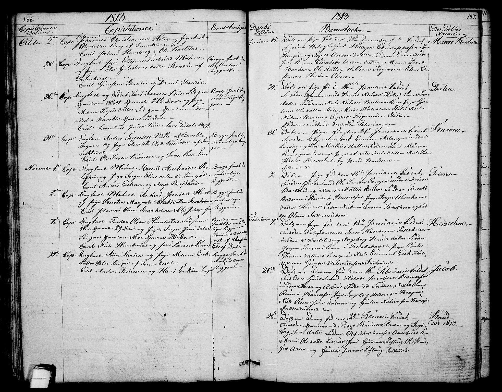 SAKO, Sannidal kirkebøker, F/Fa/L0003: Ministerialbok nr. 3, 1803-1813, s. 186-187