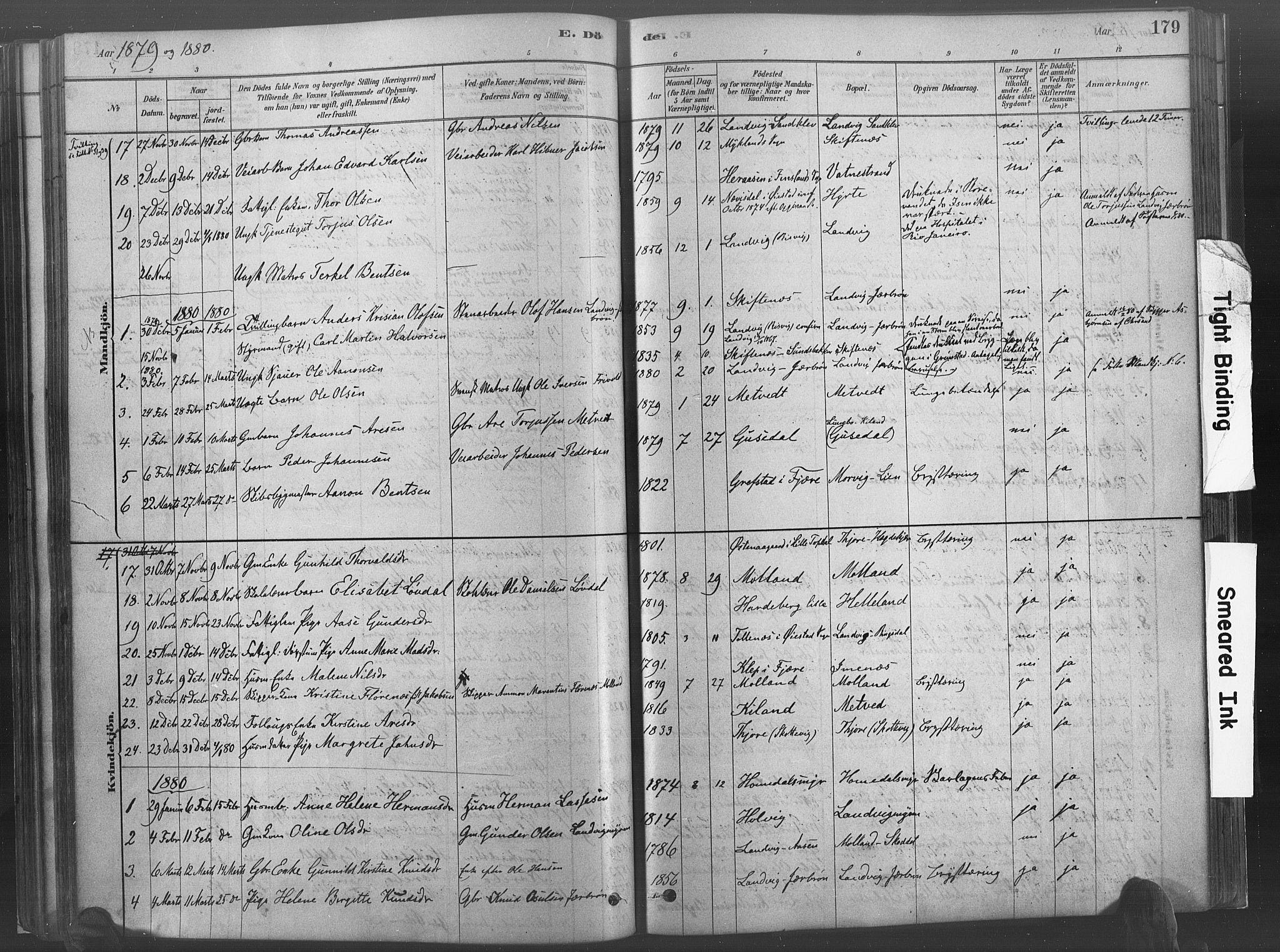 SAK, Hommedal sokneprestkontor, F/Fa/Fab/L0006: Ministerialbok nr. A 6, 1878-1897, s. 179