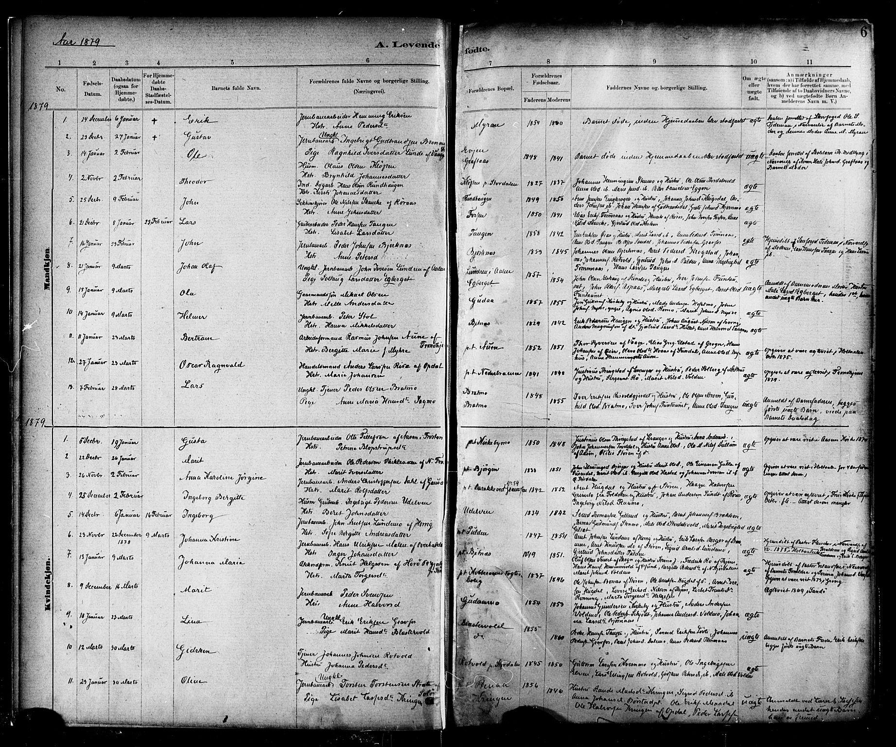 SAT, Ministerialprotokoller, klokkerbøker og fødselsregistre - Nord-Trøndelag, 706/L0047: Ministerialbok nr. 706A03, 1878-1892, s. 6