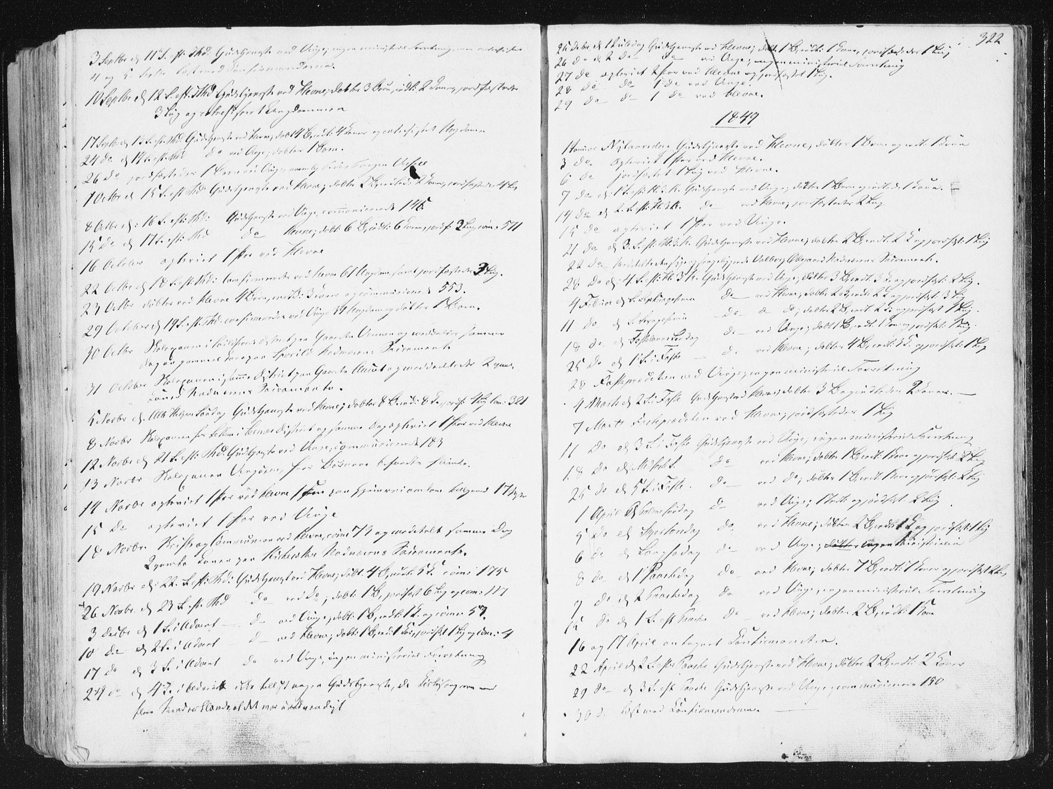 SAT, Ministerialprotokoller, klokkerbøker og fødselsregistre - Sør-Trøndelag, 630/L0493: Ministerialbok nr. 630A06, 1841-1851, s. 322