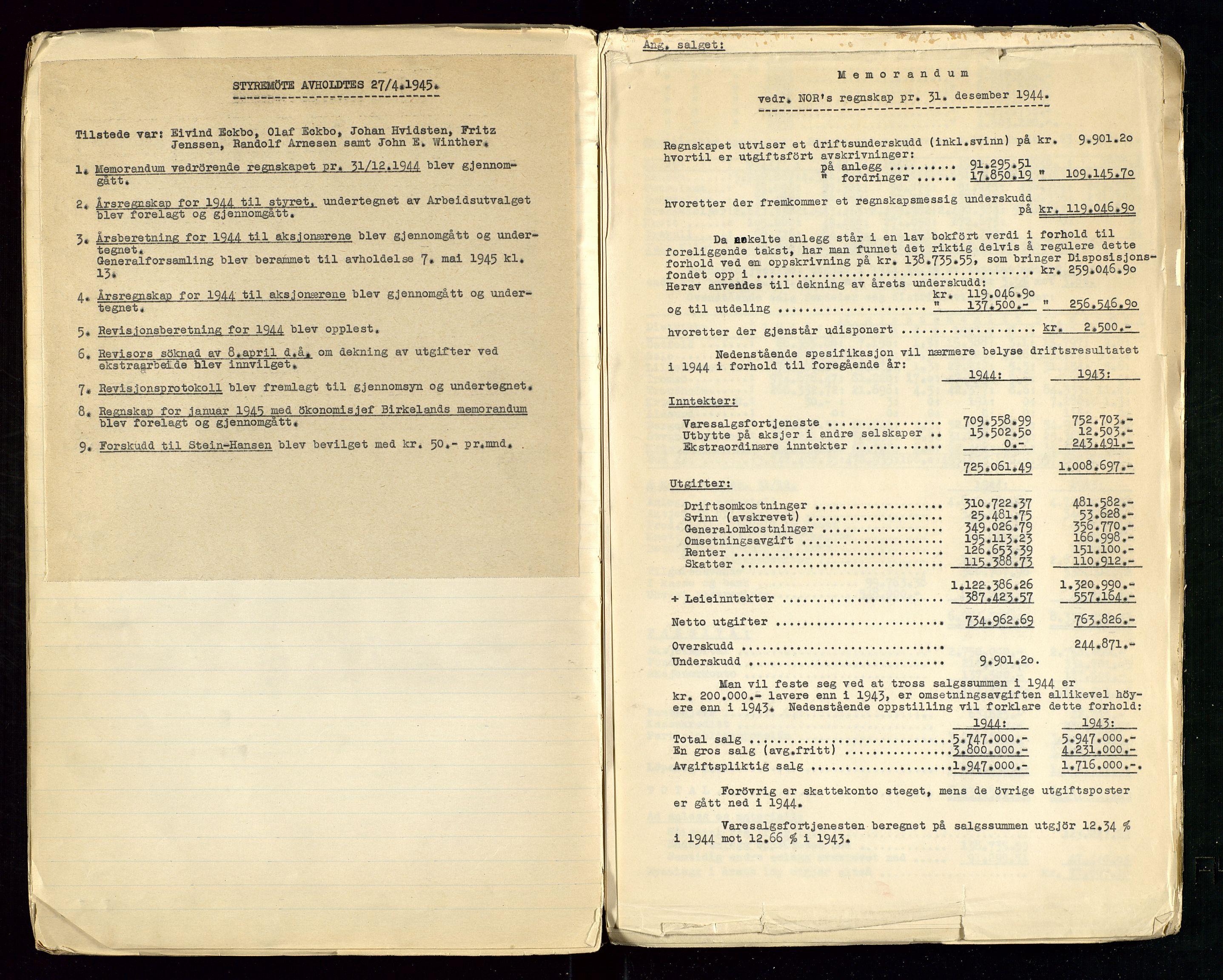 SAST, PA 1514 - Sporveienes Bensindepot, Norsk Oljeraffineri A/S, A/L0001: Styreprotokoll. Forhandlingsprotokoll Arbeidsutvaget, 1932-1949, s. 88