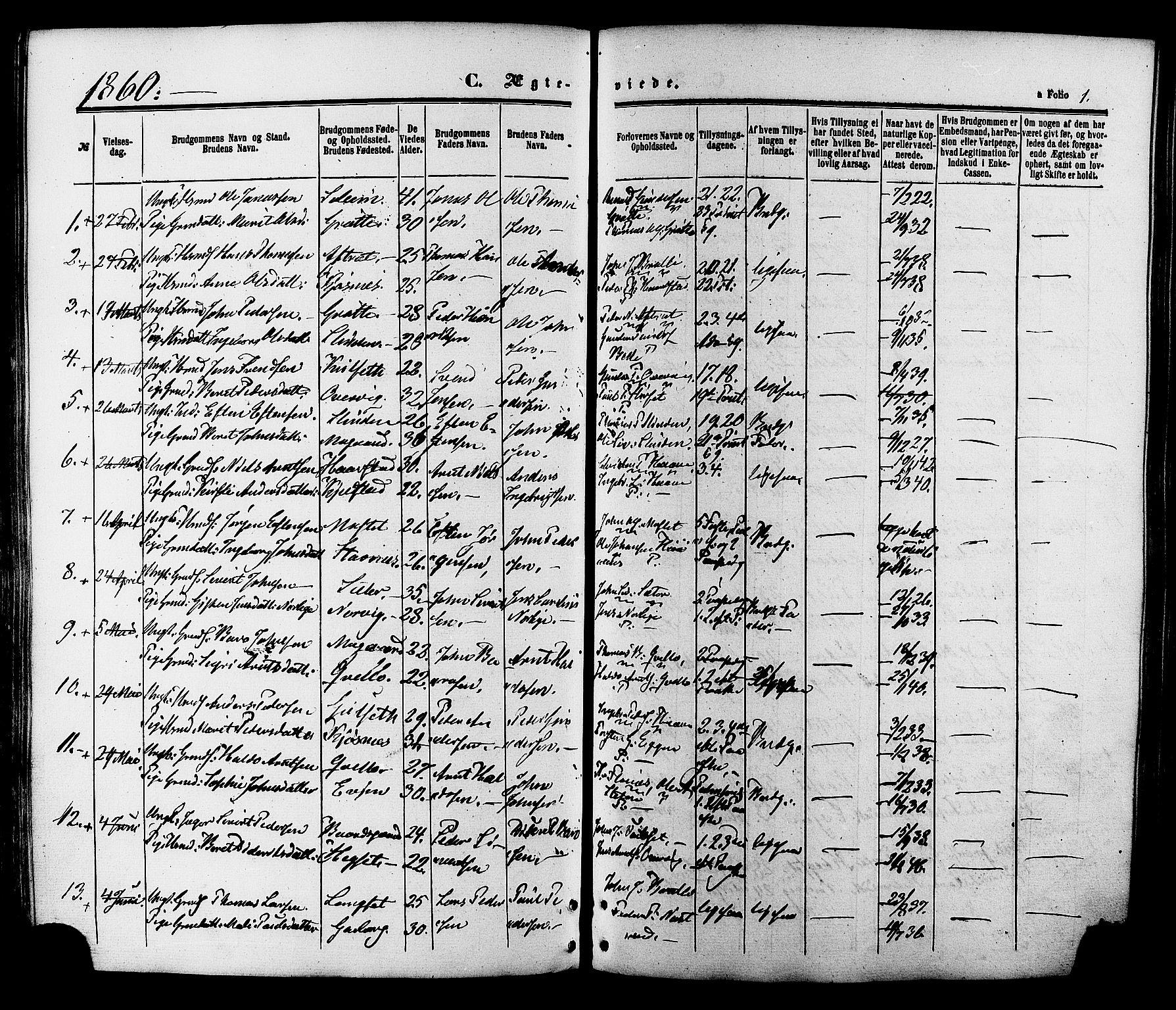 SAT, Ministerialprotokoller, klokkerbøker og fødselsregistre - Sør-Trøndelag, 695/L1147: Ministerialbok nr. 695A07, 1860-1877, s. 1
