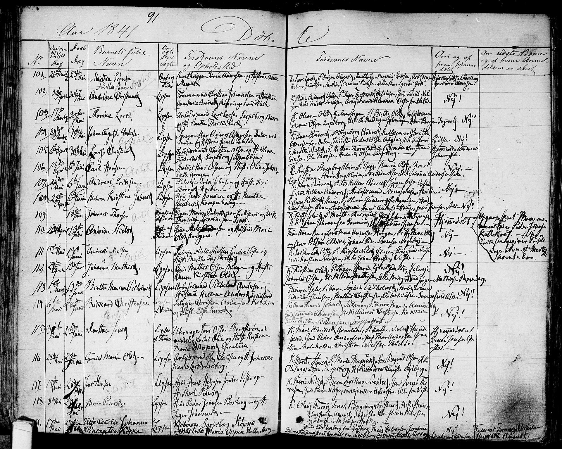 SAO, Tune prestekontor Kirkebøker, F/Fa/L0008: Ministerialbok nr. 8, 1837-1841, s. 91