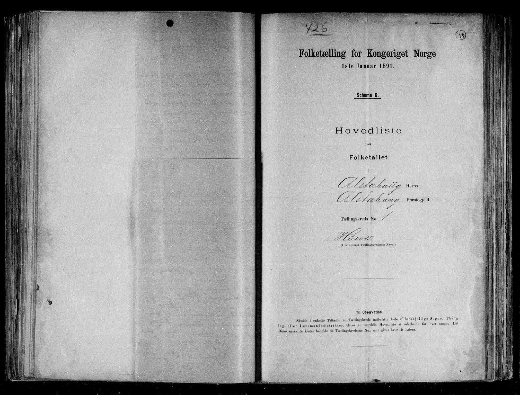 RA, Folketelling 1891 for 1820 Alstahaug herred, 1891, s. 6