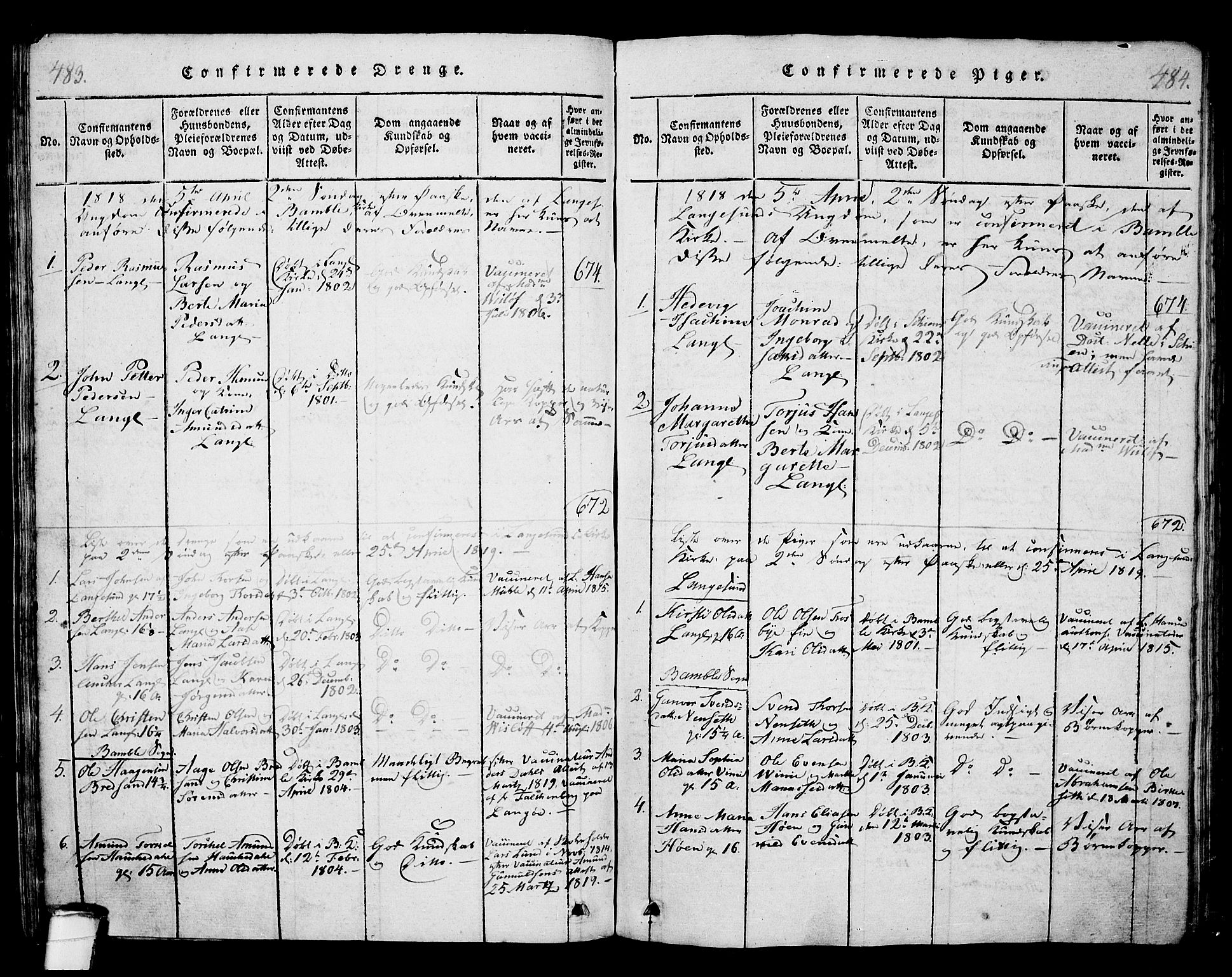 SAKO, Langesund kirkebøker, G/Ga/L0003: Klokkerbok nr. 3, 1815-1858, s. 483-484