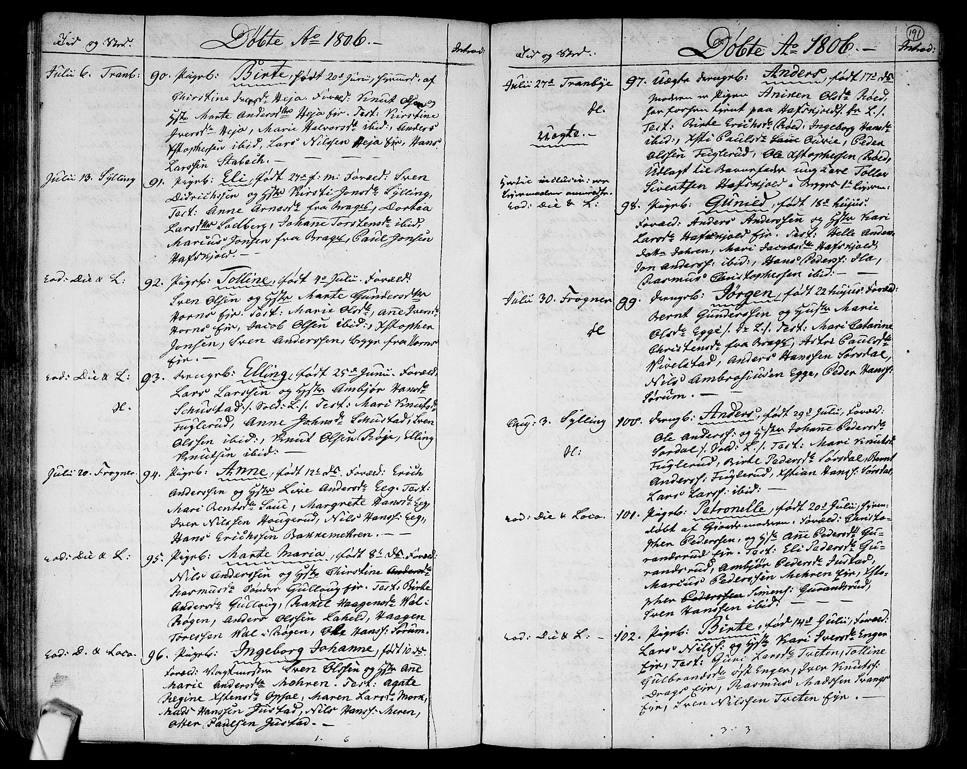 SAKO, Lier kirkebøker, F/Fa/L0007: Ministerialbok nr. I 7, 1794-1813, s. 191