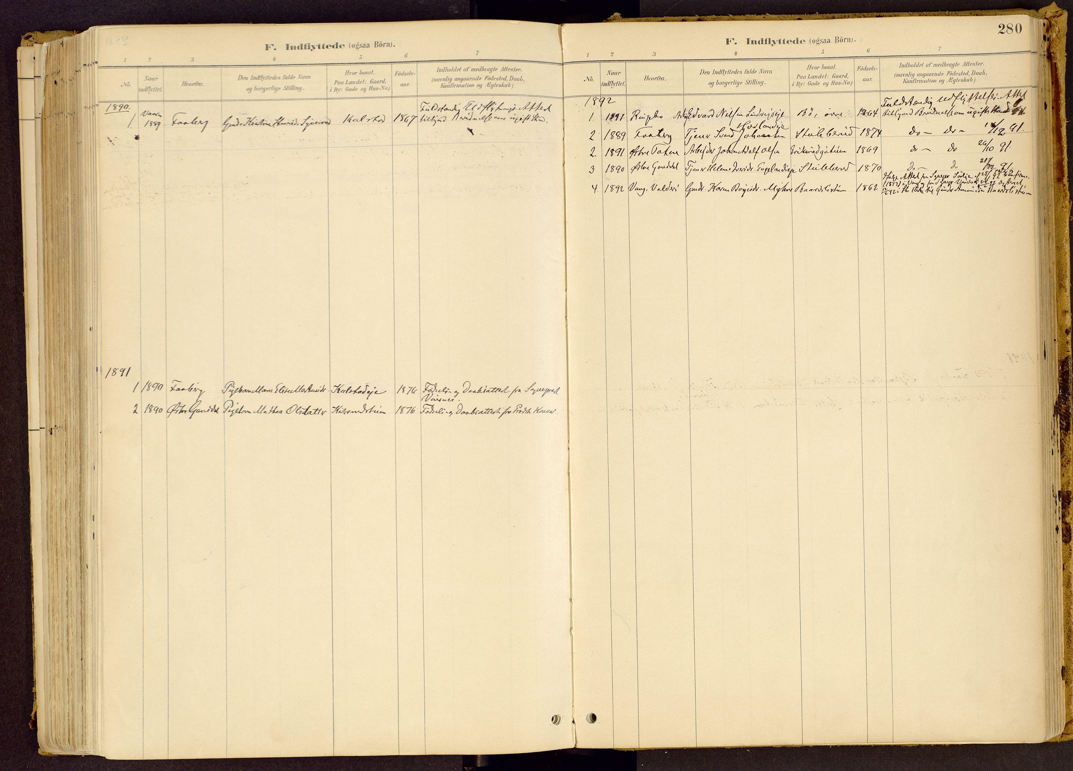 SAH, Vestre Gausdal prestekontor, Ministerialbok nr. 1, 1887-1914, s. 280