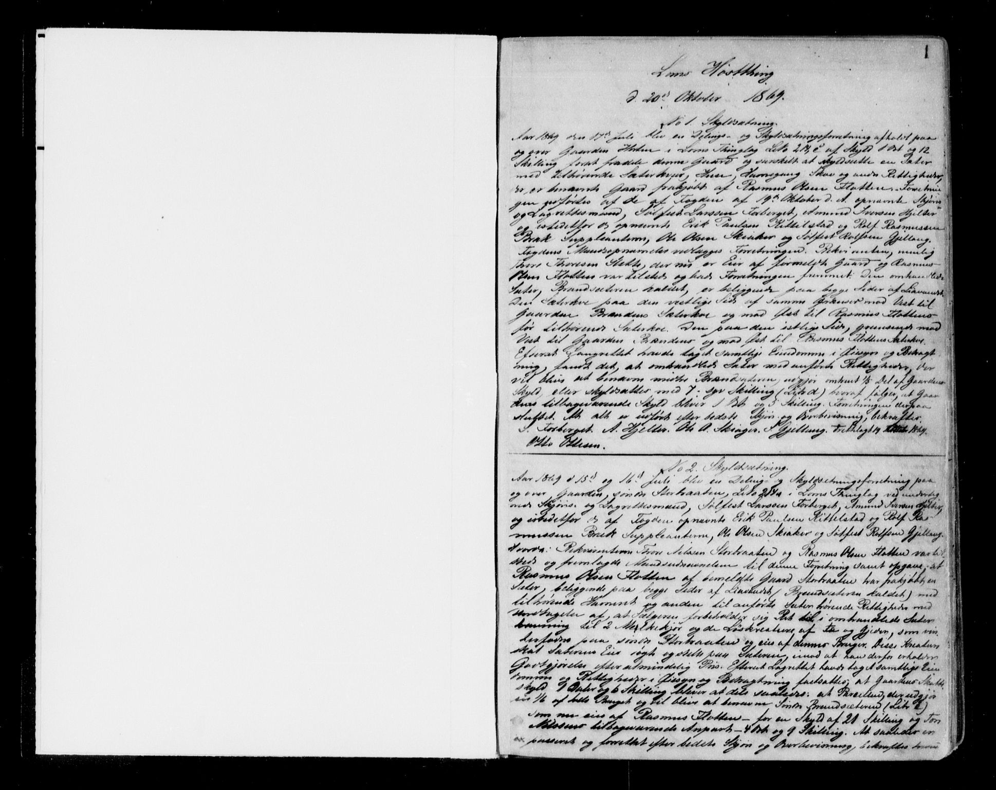 SAH, Nord-Gudbrandsdal tingrett, H/Hb/Hba/L0010A: Pantebok nr. 10a, 1869-1876, s. 0-1