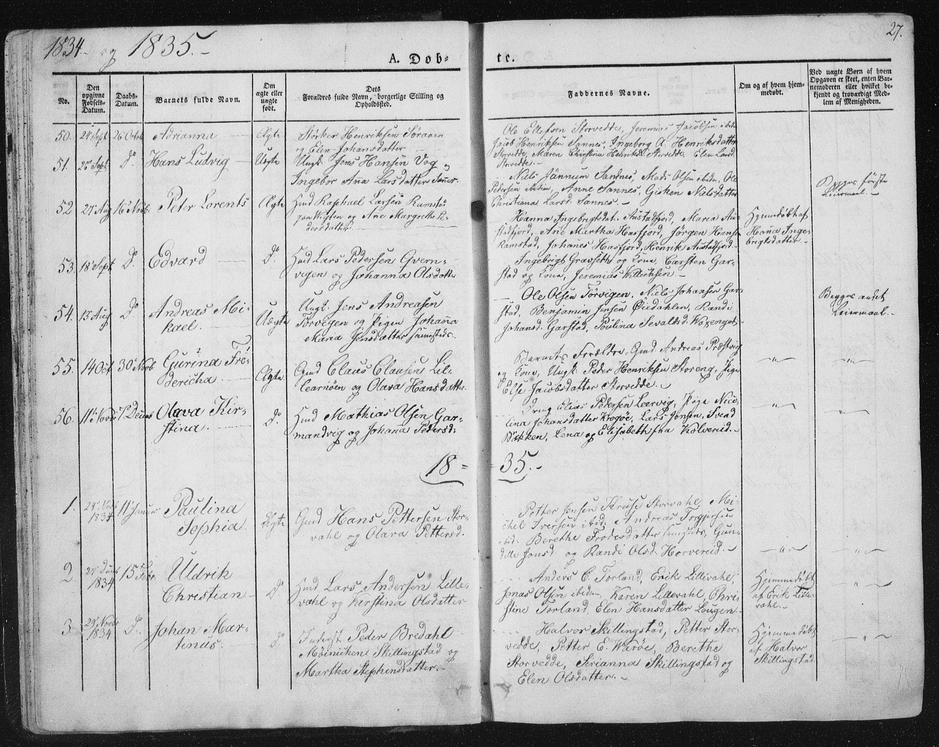 SAT, Ministerialprotokoller, klokkerbøker og fødselsregistre - Nord-Trøndelag, 784/L0669: Ministerialbok nr. 784A04, 1829-1859, s. 27