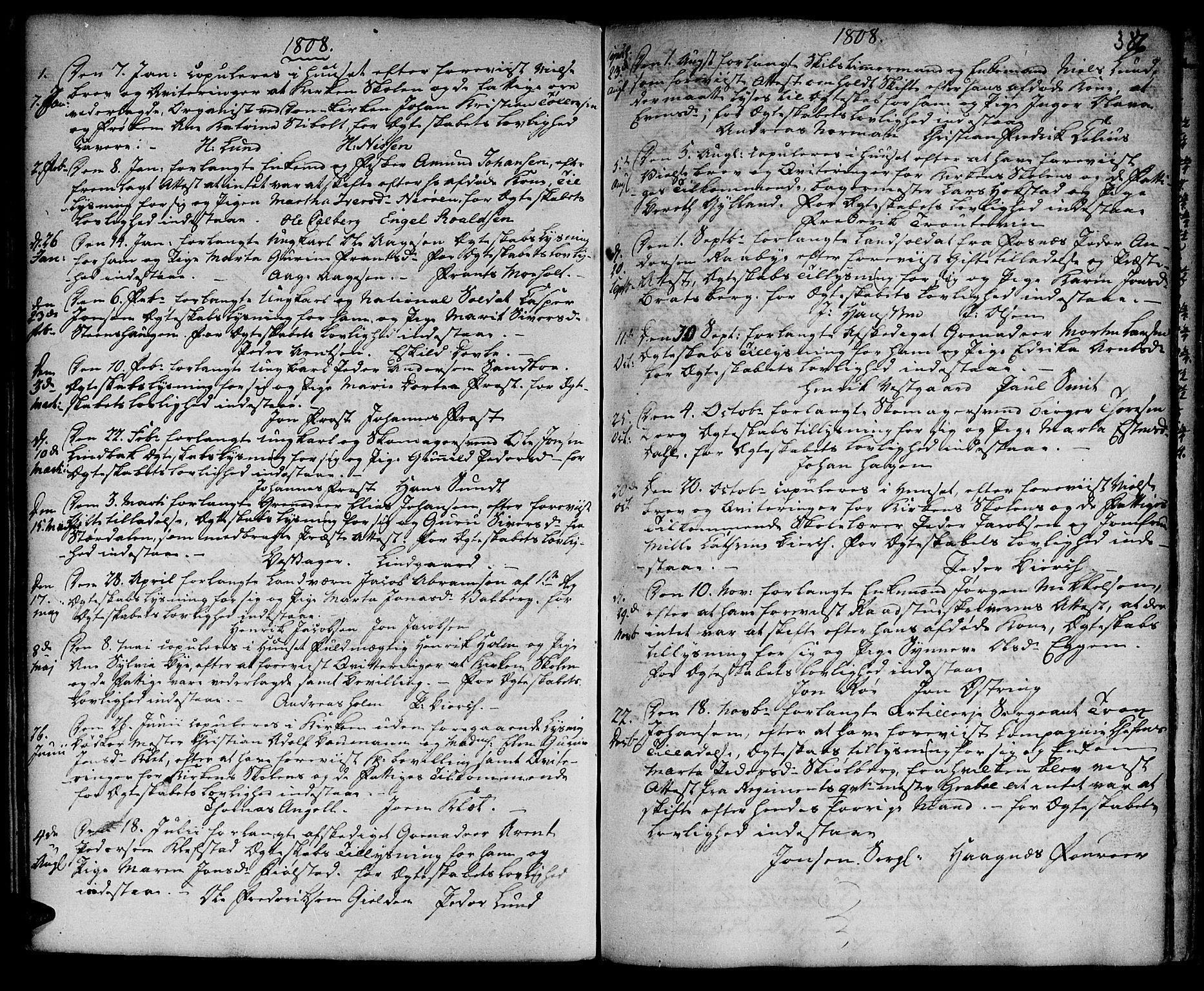 SAT, Ministerialprotokoller, klokkerbøker og fødselsregistre - Sør-Trøndelag, 601/L0038: Ministerialbok nr. 601A06, 1766-1877, s. 386