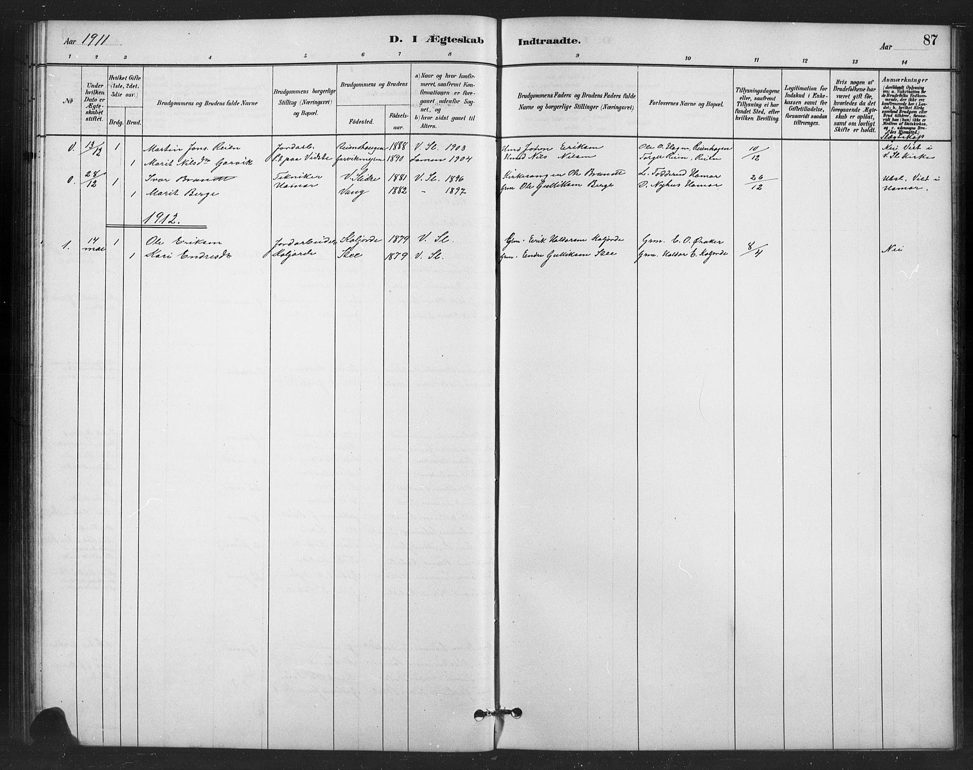 SAH, Vestre Slidre prestekontor, Klokkerbok nr. 6, 1881-1915, s. 87