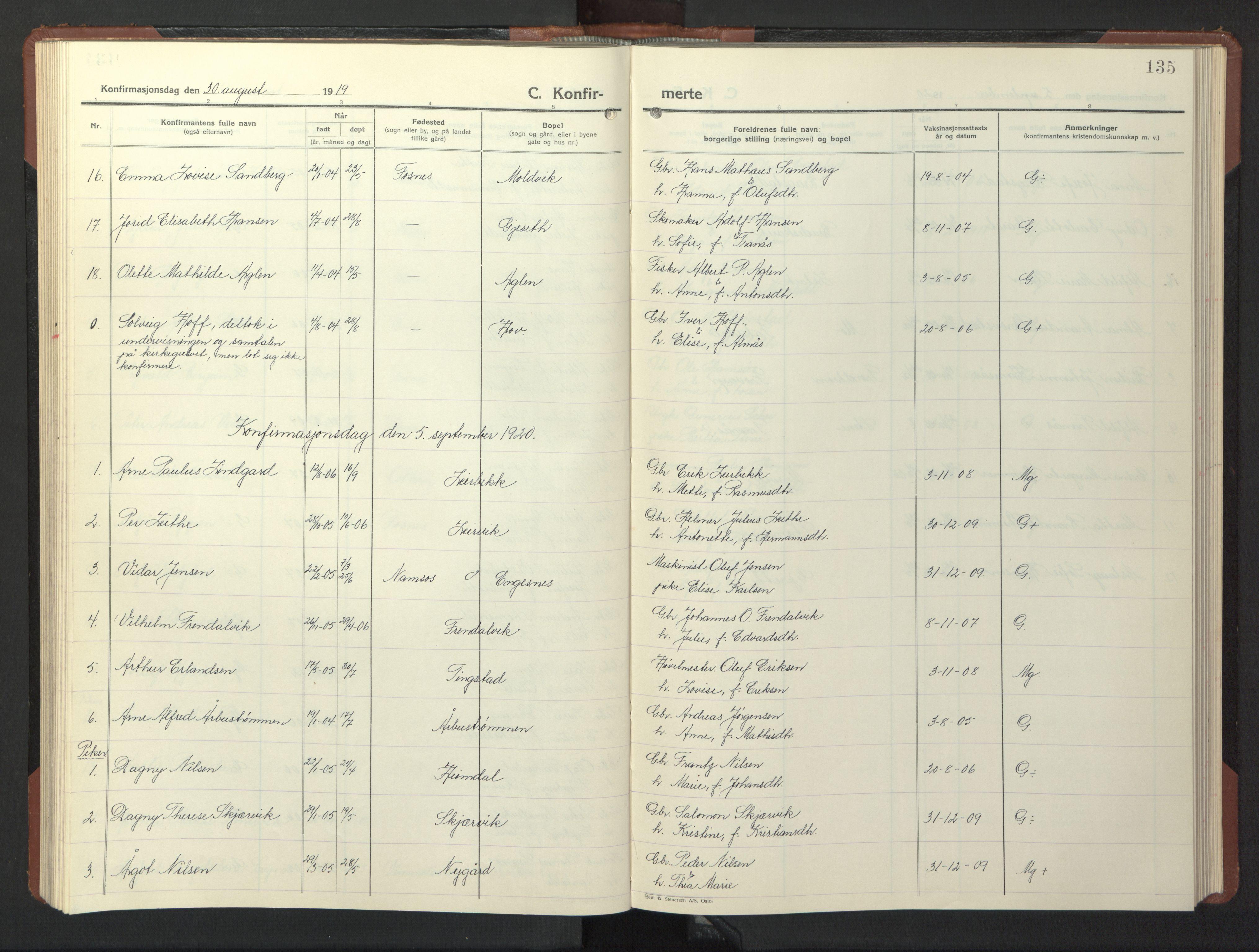 SAT, Ministerialprotokoller, klokkerbøker og fødselsregistre - Nord-Trøndelag, 773/L0625: Klokkerbok nr. 773C01, 1910-1952, s. 135