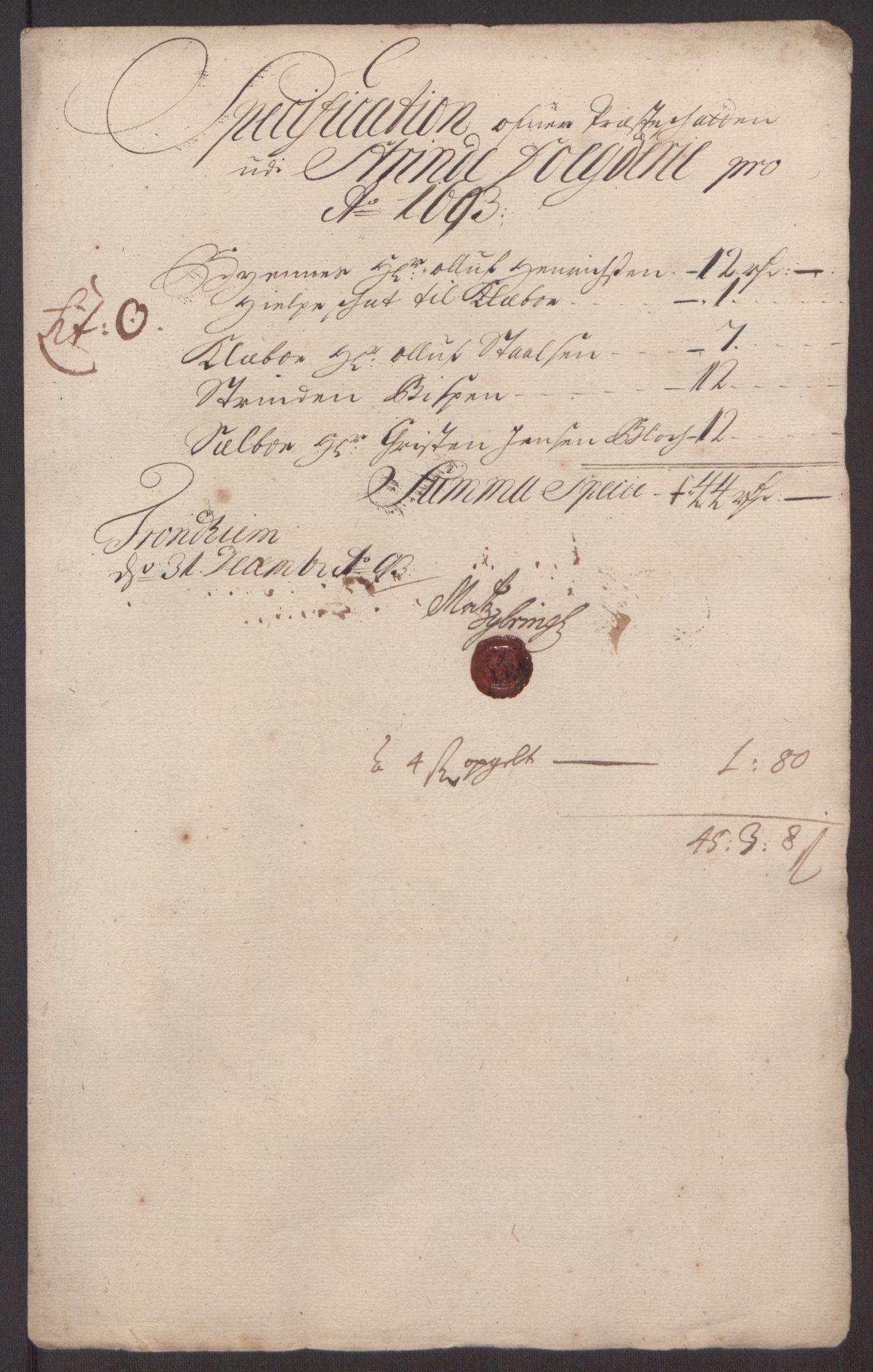 RA, Rentekammeret inntil 1814, Reviderte regnskaper, Fogderegnskap, R61/L4104: Fogderegnskap Strinda og Selbu, 1693-1694, s. 145
