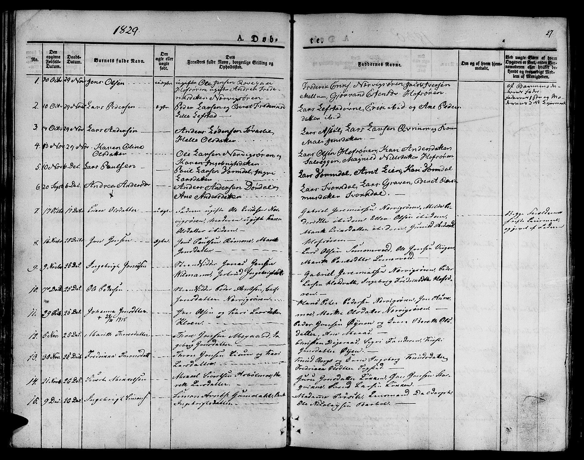SAT, Ministerialprotokoller, klokkerbøker og fødselsregistre - Sør-Trøndelag, 668/L0804: Ministerialbok nr. 668A04, 1826-1839, s. 27