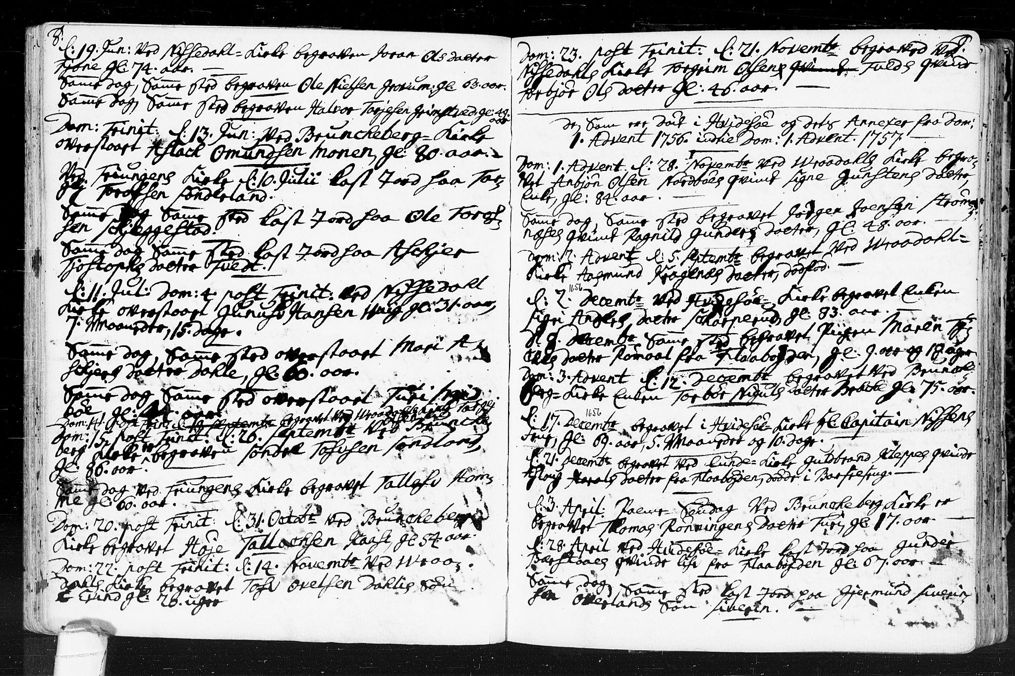SAKO, Kviteseid kirkebøker, F/Fa/L0001: Ministerialbok nr. I 1, 1754-1773, s. 8-9