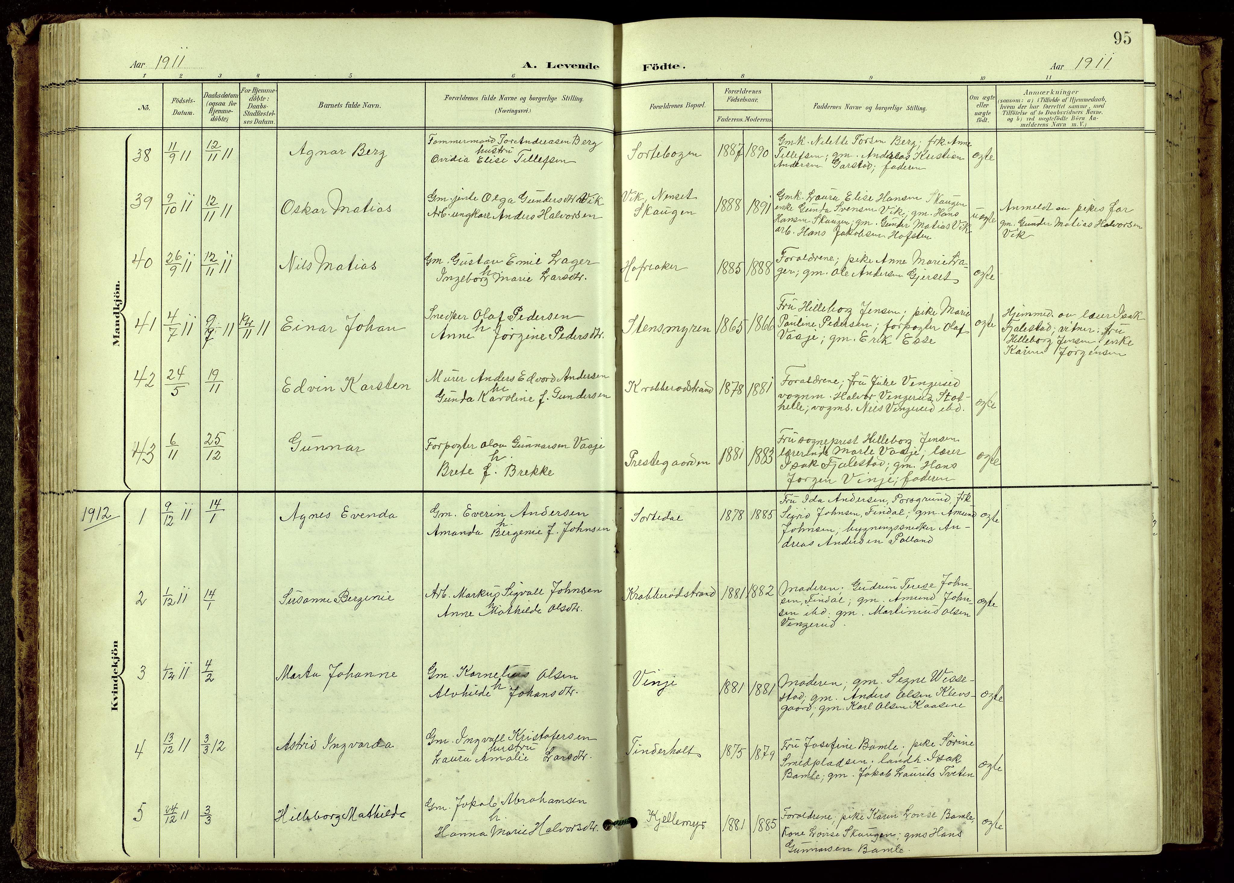 SAKO, Bamble kirkebøker, G/Ga/L0010: Klokkerbok nr. I 10, 1901-1919, s. 95