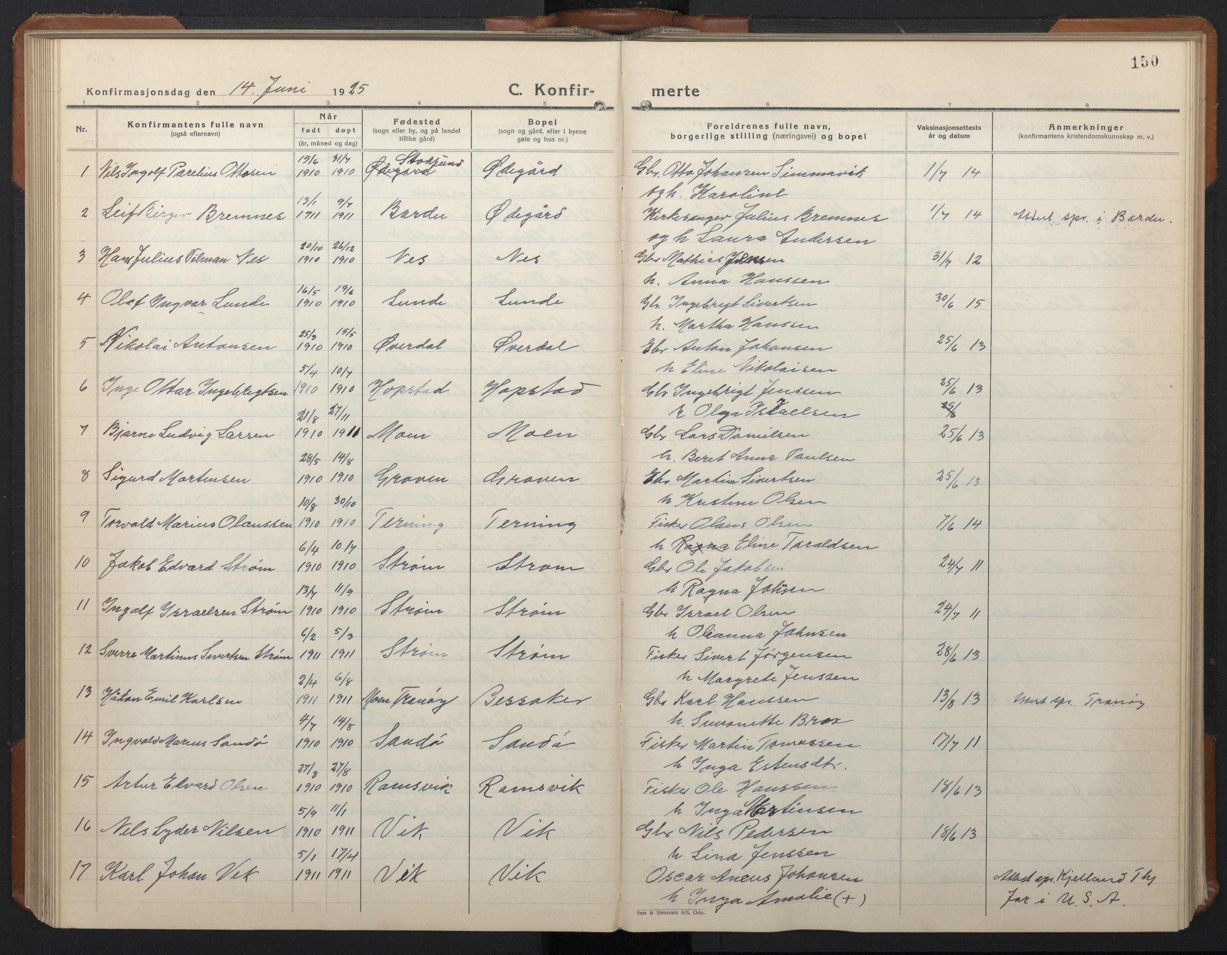 SAT, Ministerialprotokoller, klokkerbøker og fødselsregistre - Sør-Trøndelag, 657/L0718: Klokkerbok nr. 657C05, 1923-1948, s. 150