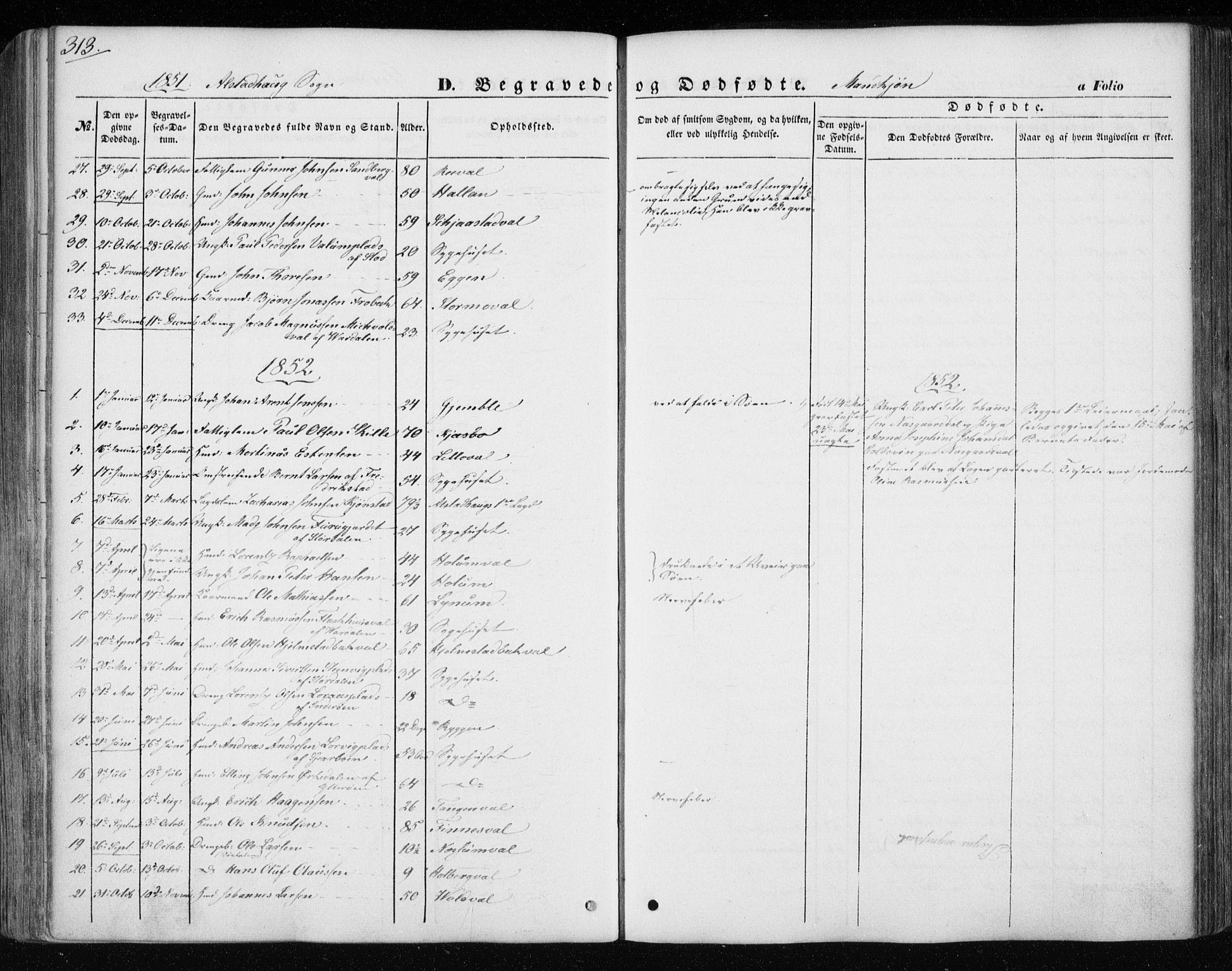 SAT, Ministerialprotokoller, klokkerbøker og fødselsregistre - Nord-Trøndelag, 717/L0154: Ministerialbok nr. 717A07 /1, 1850-1862, s. 313