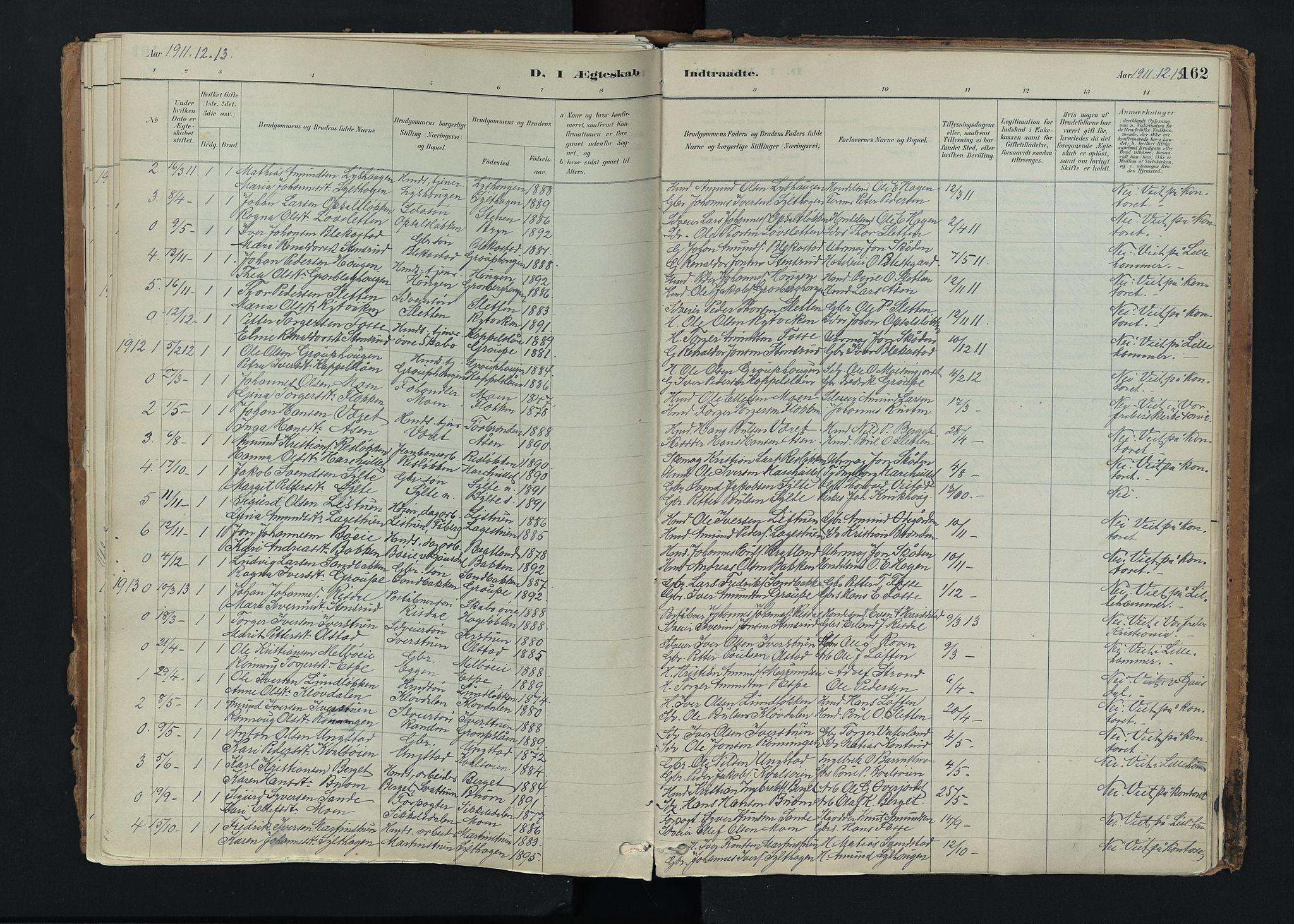 SAH, Nord-Fron prestekontor, Ministerialbok nr. 5, 1884-1914, s. 162
