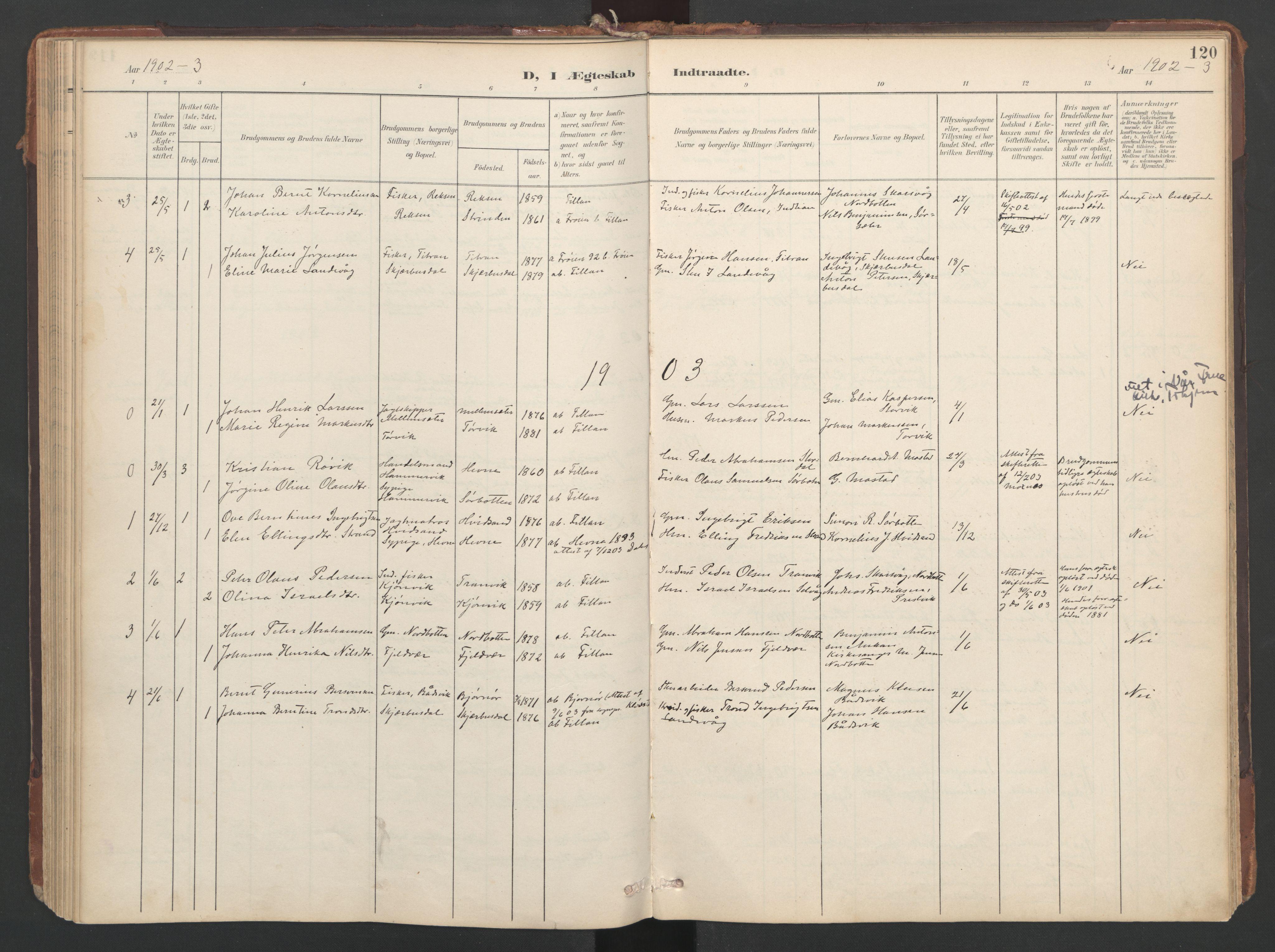 SAT, Ministerialprotokoller, klokkerbøker og fødselsregistre - Sør-Trøndelag, 638/L0568: Ministerialbok nr. 638A01, 1901-1916, s. 120