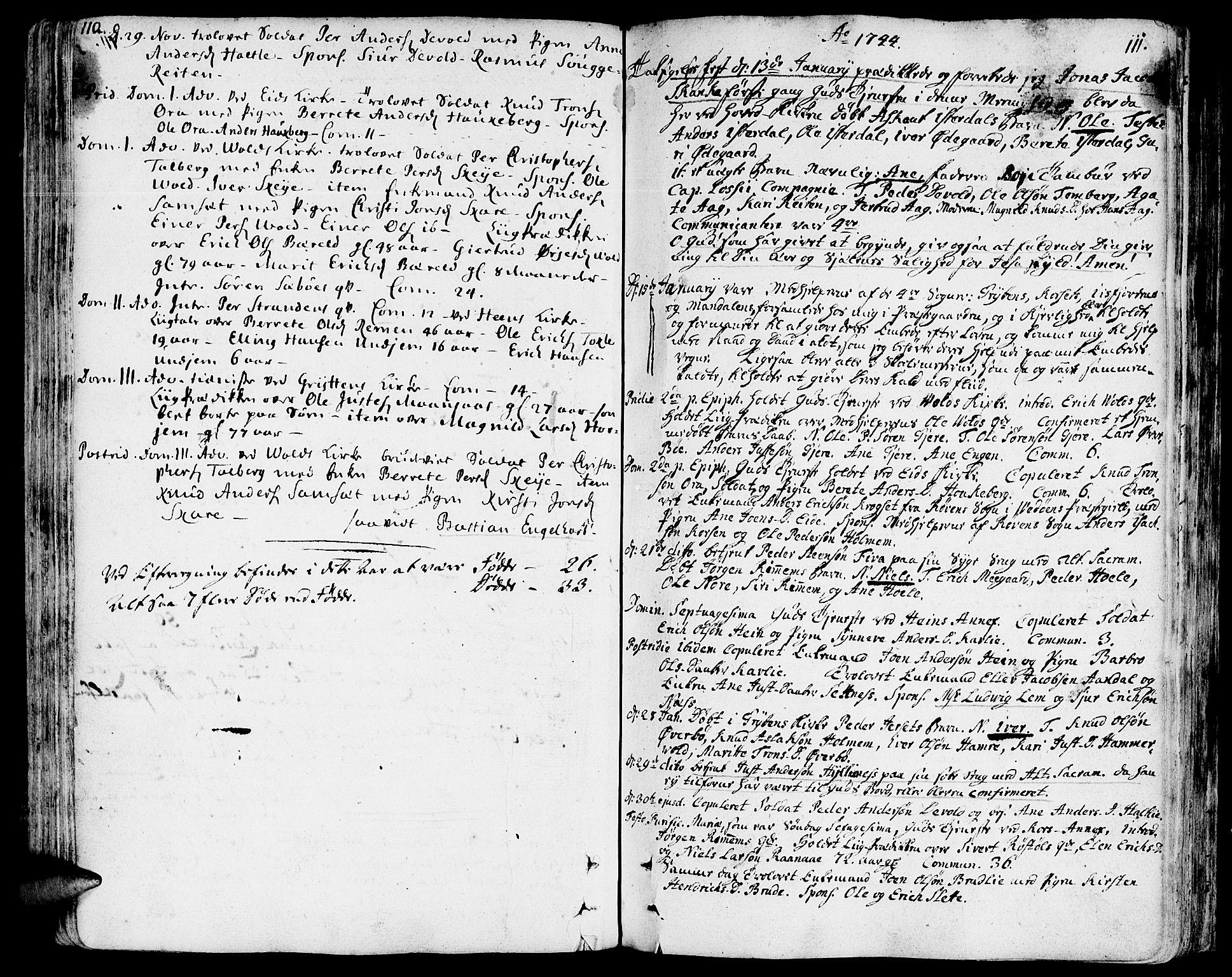 SAT, Ministerialprotokoller, klokkerbøker og fødselsregistre - Møre og Romsdal, 544/L0568: Ministerialbok nr. 544A01, 1725-1763, s. 110-111