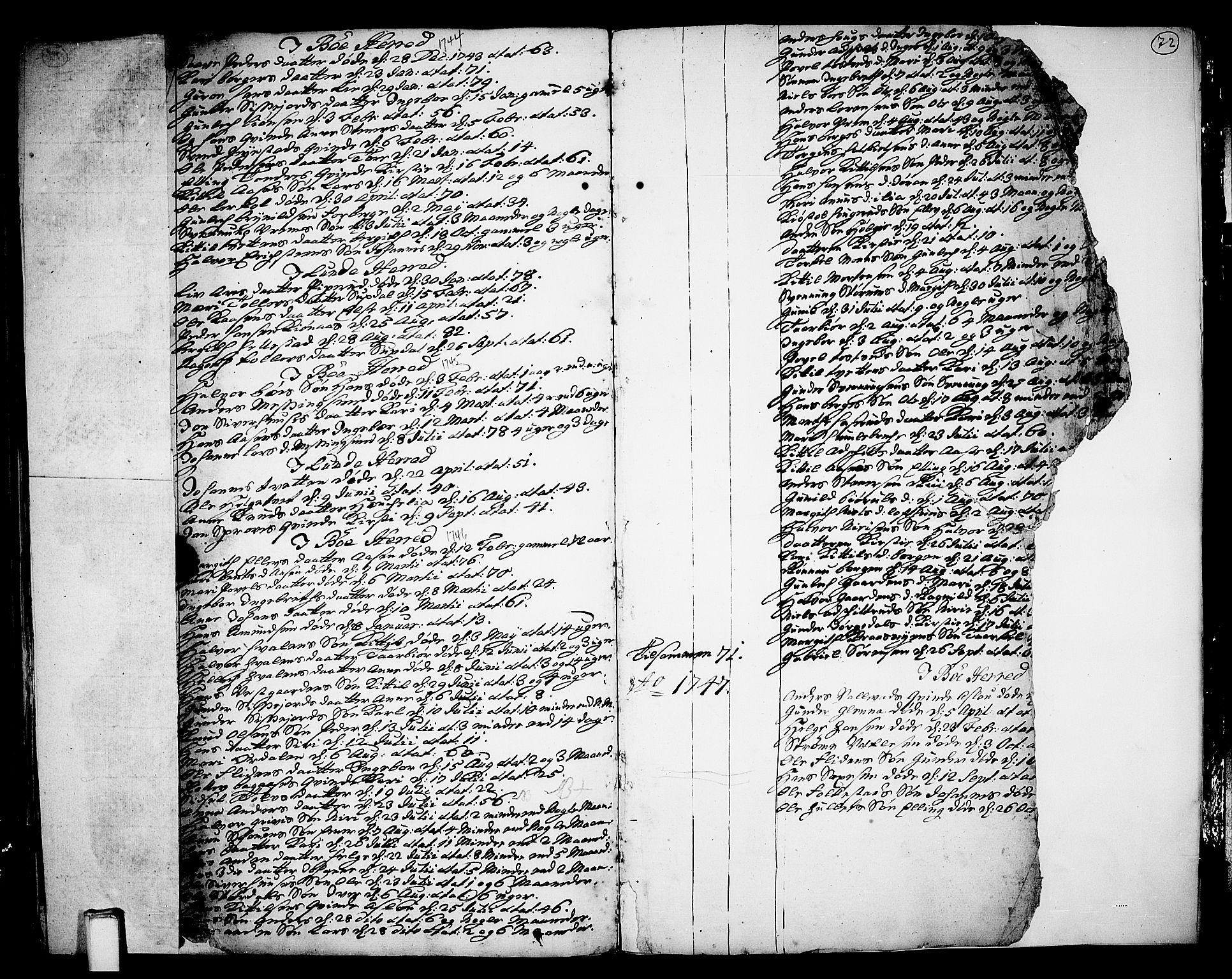 SAKO, Bø kirkebøker, F/Fa/L0003: Ministerialbok nr. 3, 1733-1748, s. 72