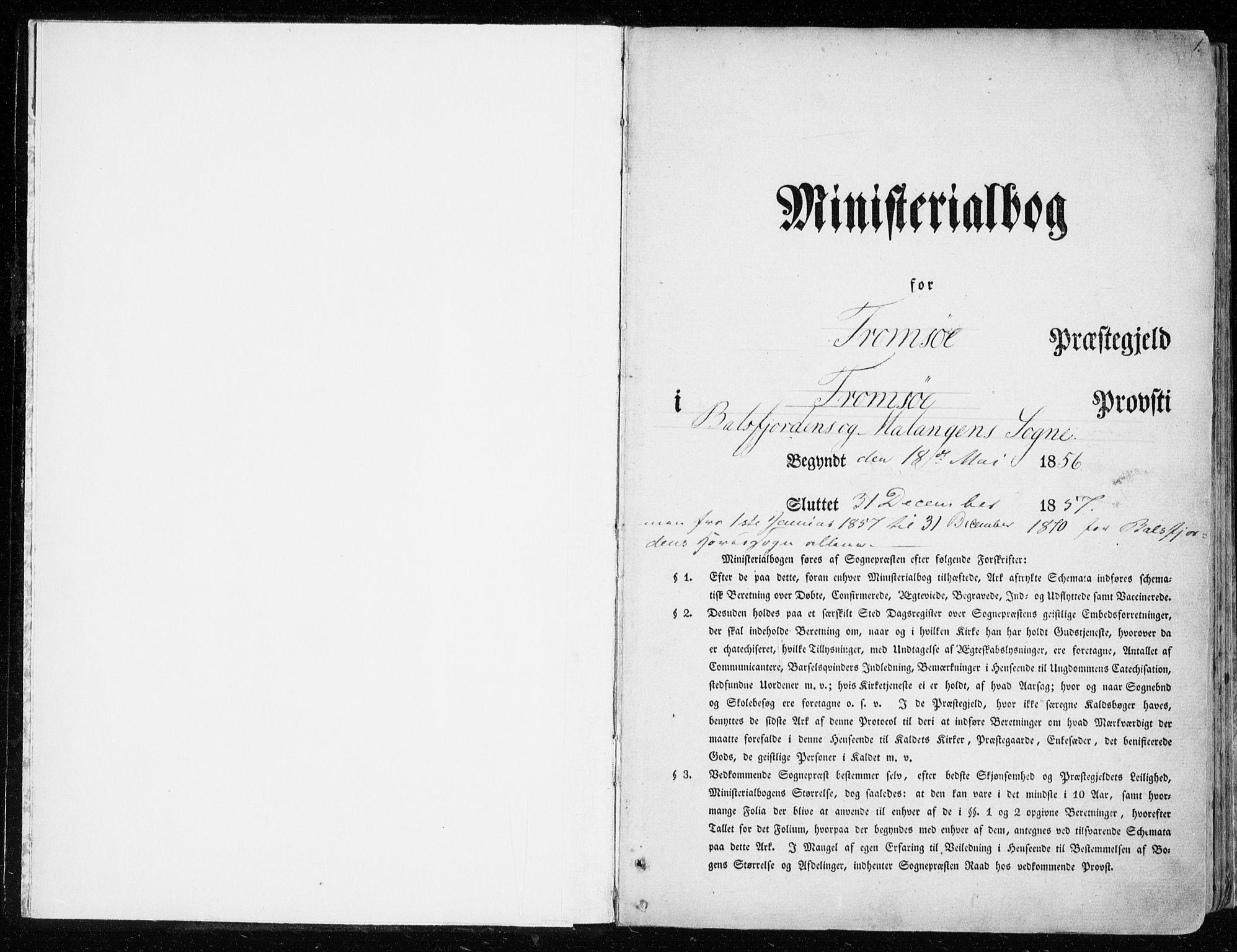 SATØ, Balsfjord sokneprestembete, Ministerialbok nr. 3, 1856-1870, s. 1
