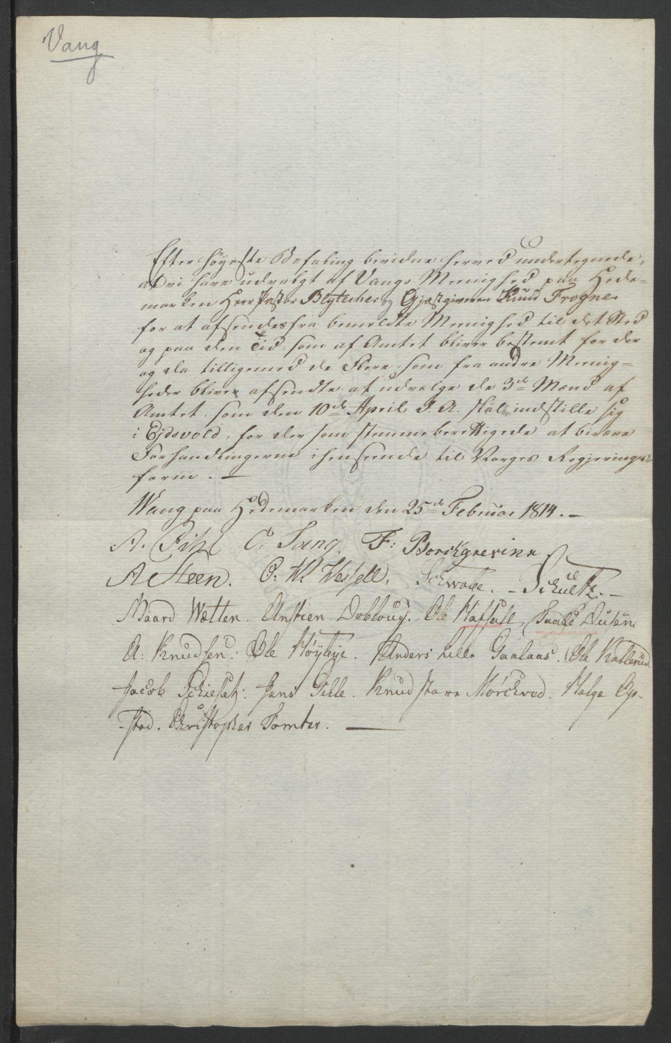 RA, Statsrådssekretariatet, D/Db/L0007: Fullmakter for Eidsvollsrepresentantene i 1814. , 1814, s. 246