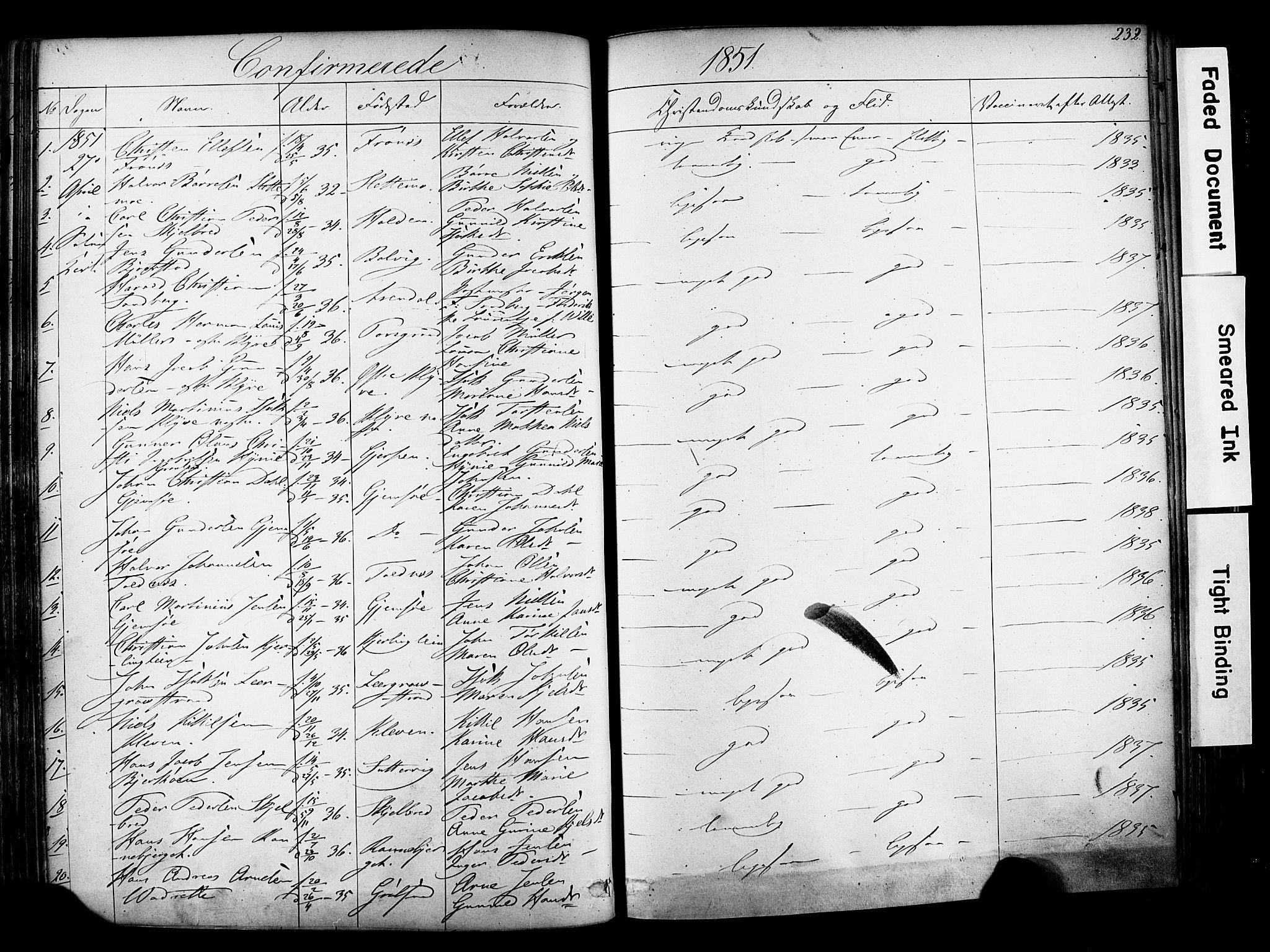 SAKO, Solum kirkebøker, F/Fa/L0006: Ministerialbok nr. I 6, 1844-1855, s. 232