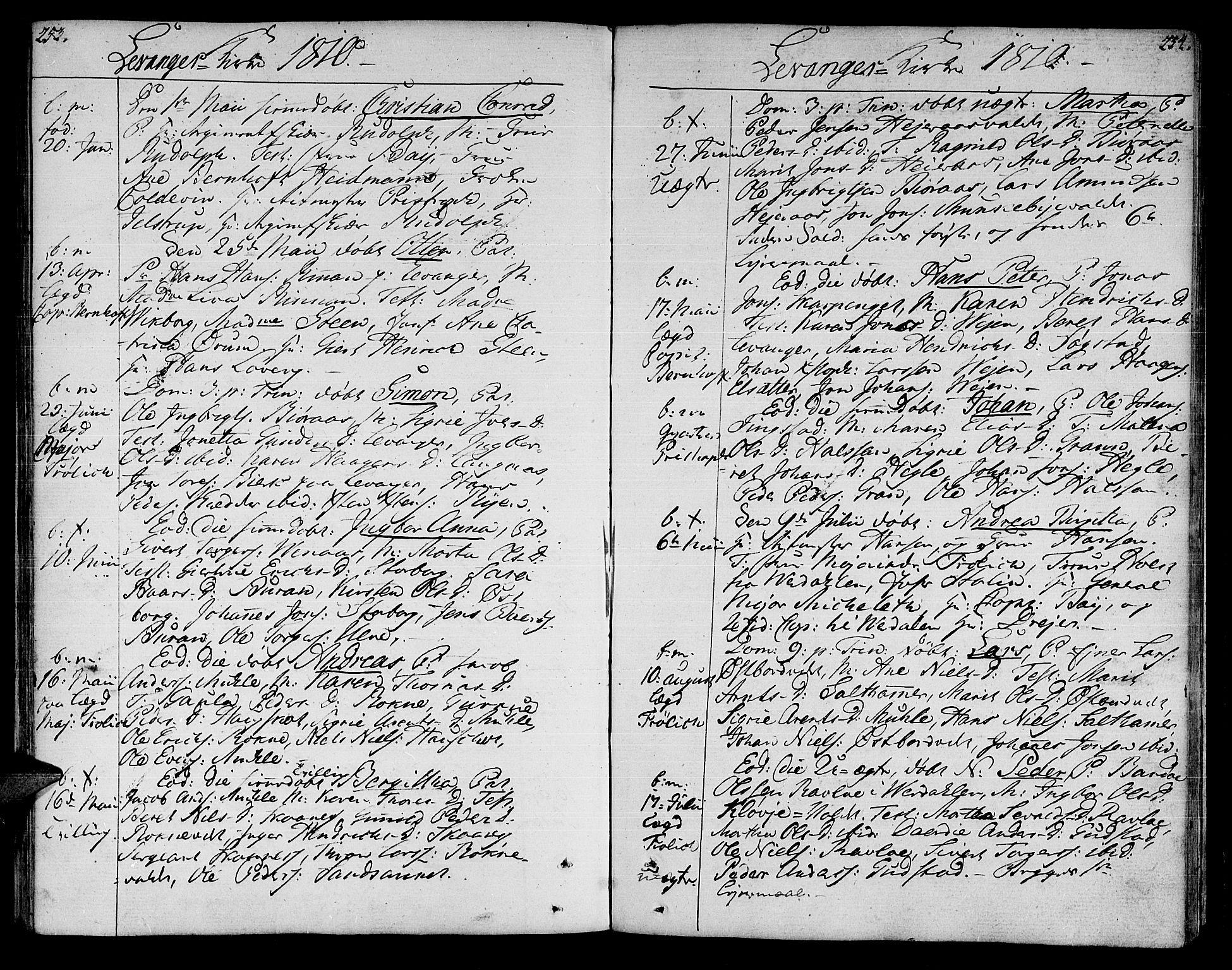 SAT, Ministerialprotokoller, klokkerbøker og fødselsregistre - Nord-Trøndelag, 717/L0145: Ministerialbok nr. 717A03 /3, 1810-1815, s. 253-254